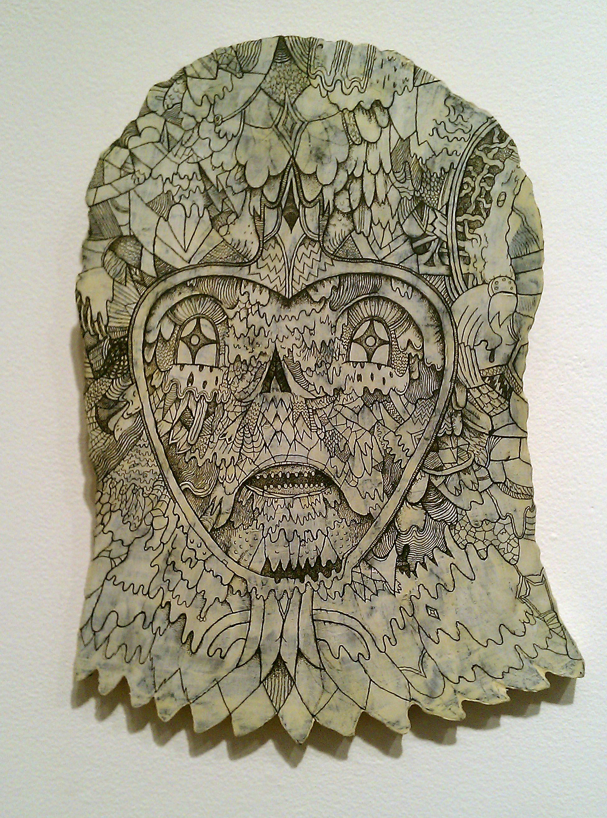 Ink and acrylicon wood 2012  Private collection