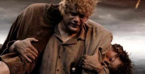 Samwise Gamgee carries Frodo up an active volcano to complete their mission.
