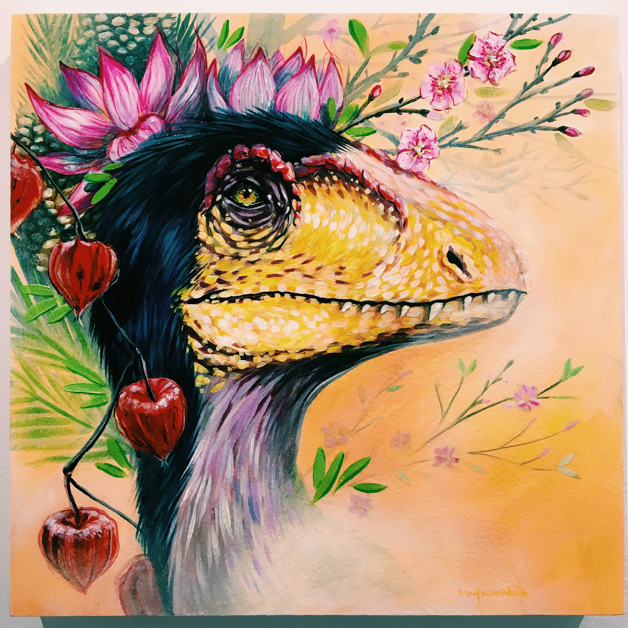 Dinosauria Exhibit — Art.Science.Gallery.— Painting by Mary Wendel