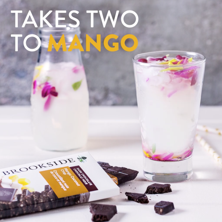 Mango Coconut Crisp Brookside Bar   H2O? More like H2WOAH. Stir up a pitcher of lemonade and serve it with Brookside Mango Coconut Crisp to take a regular, thirst-quenching glass to a whole new level.