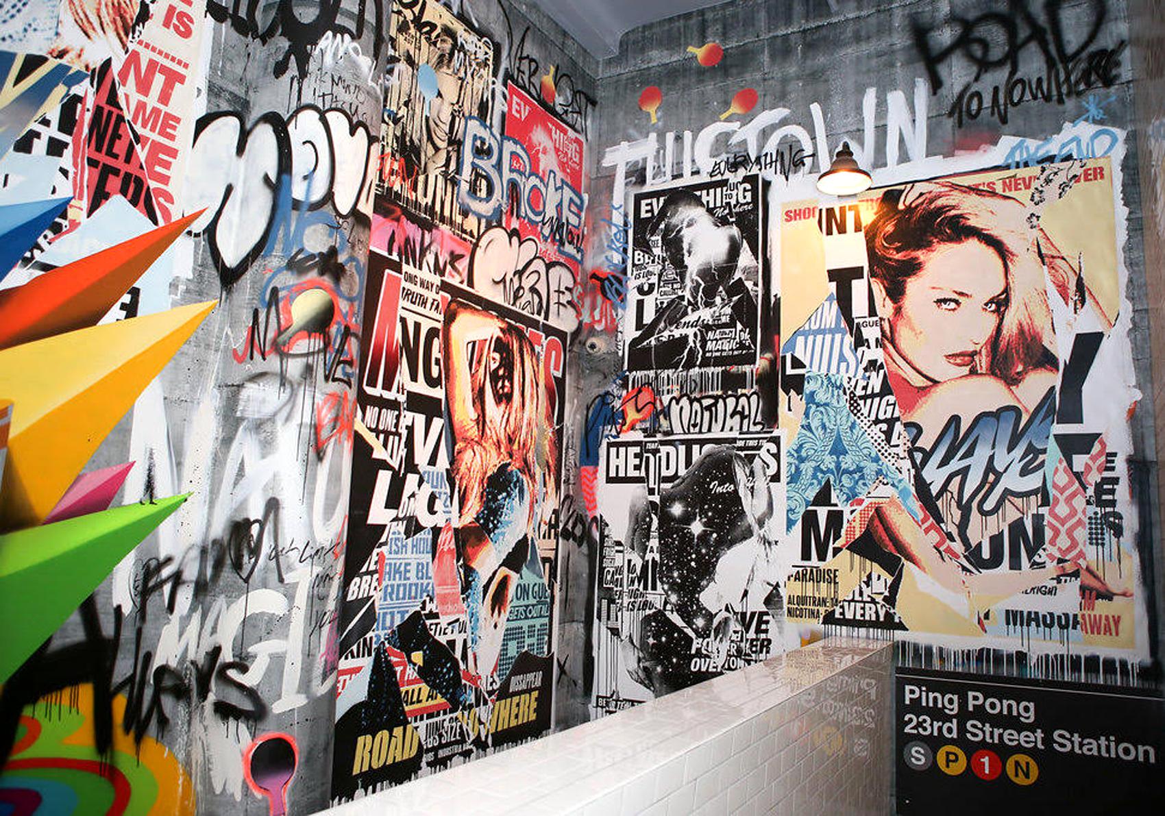 SPiN club entrance mural Manhattan 2017