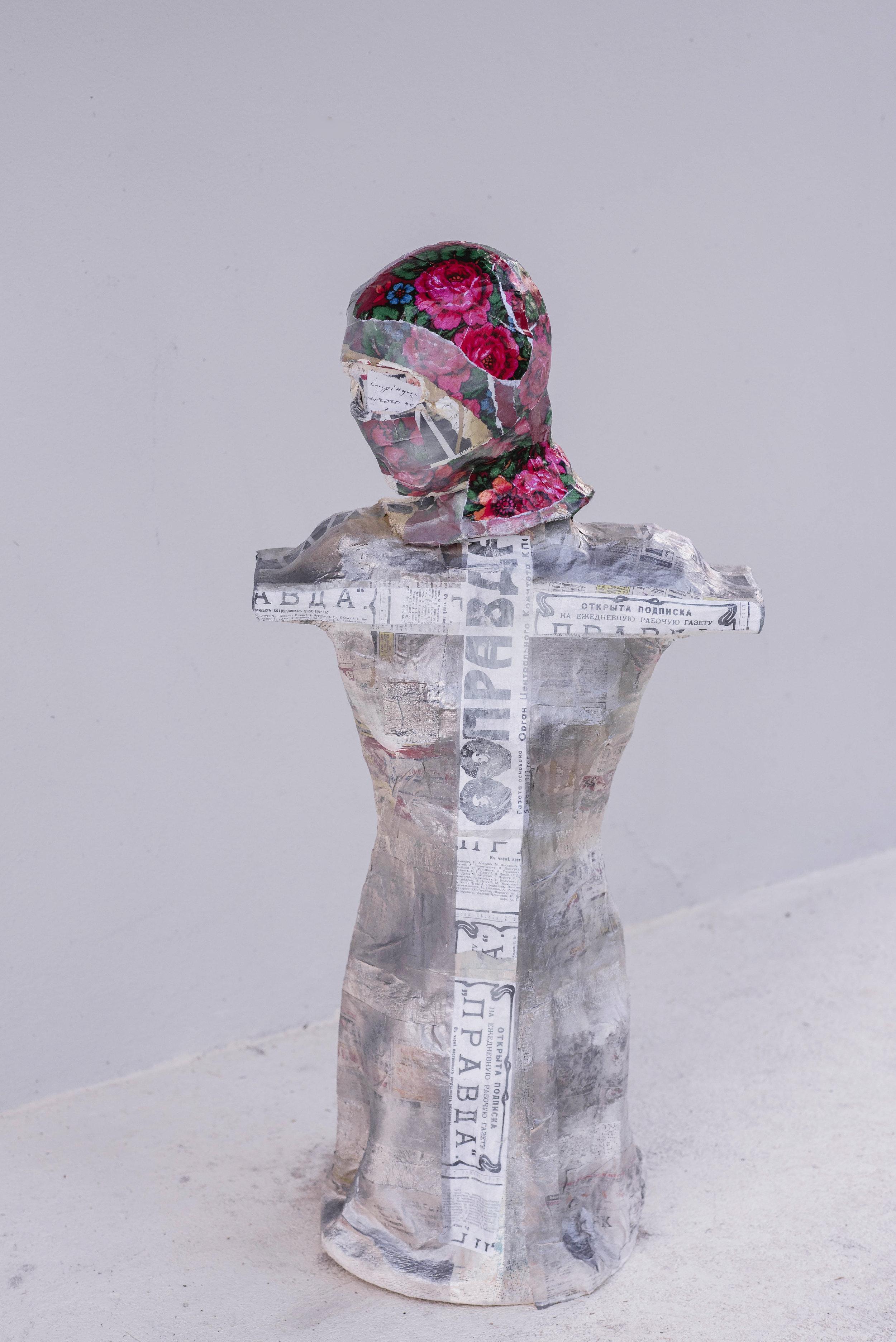 Rebel  1.0 x 0.5 meters, 2018 Paper mache, plaster of paris, styrofoam, cardboard, acrylic paint, paper, duct tape, wires, fabric, spray paint