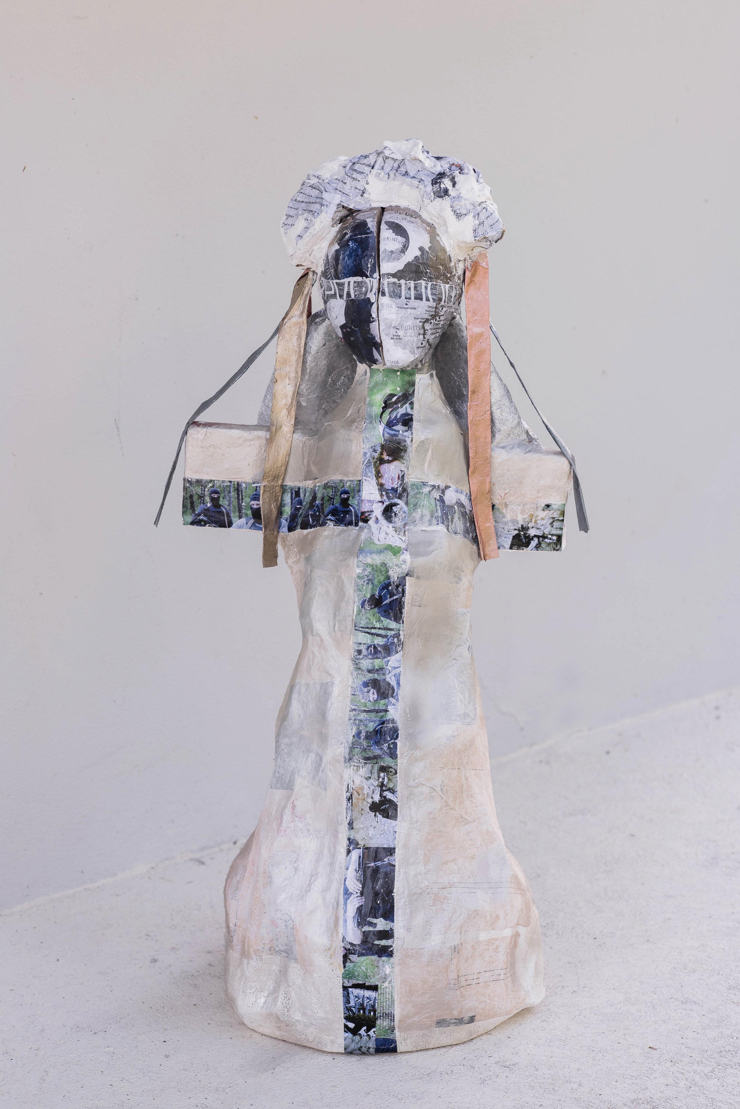 Sacrifice  1.0 x 0.5 meters, 2018 Paper mache, plaster of paris, styrofoam, cardboard, acrylic paint, paper, duct tape, wires, fabric, spray paint