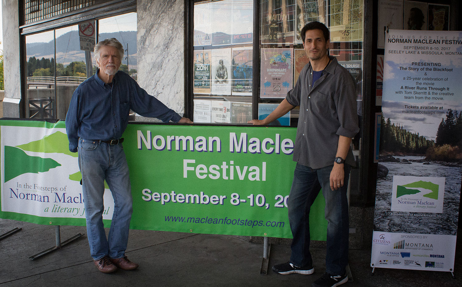 Actor Tom Skerritt and Norman Maclean's grandson, Jacob Snyder at the 2017 In The Footsteps of Norman Maclean Festival. Image: Chenoa Dwyer.