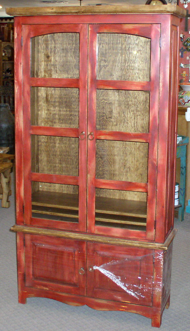 #3526 CHIHUAHUA BOOKCASE RED GLASS DOORS 39 X 13X72 389 2 .jpg
