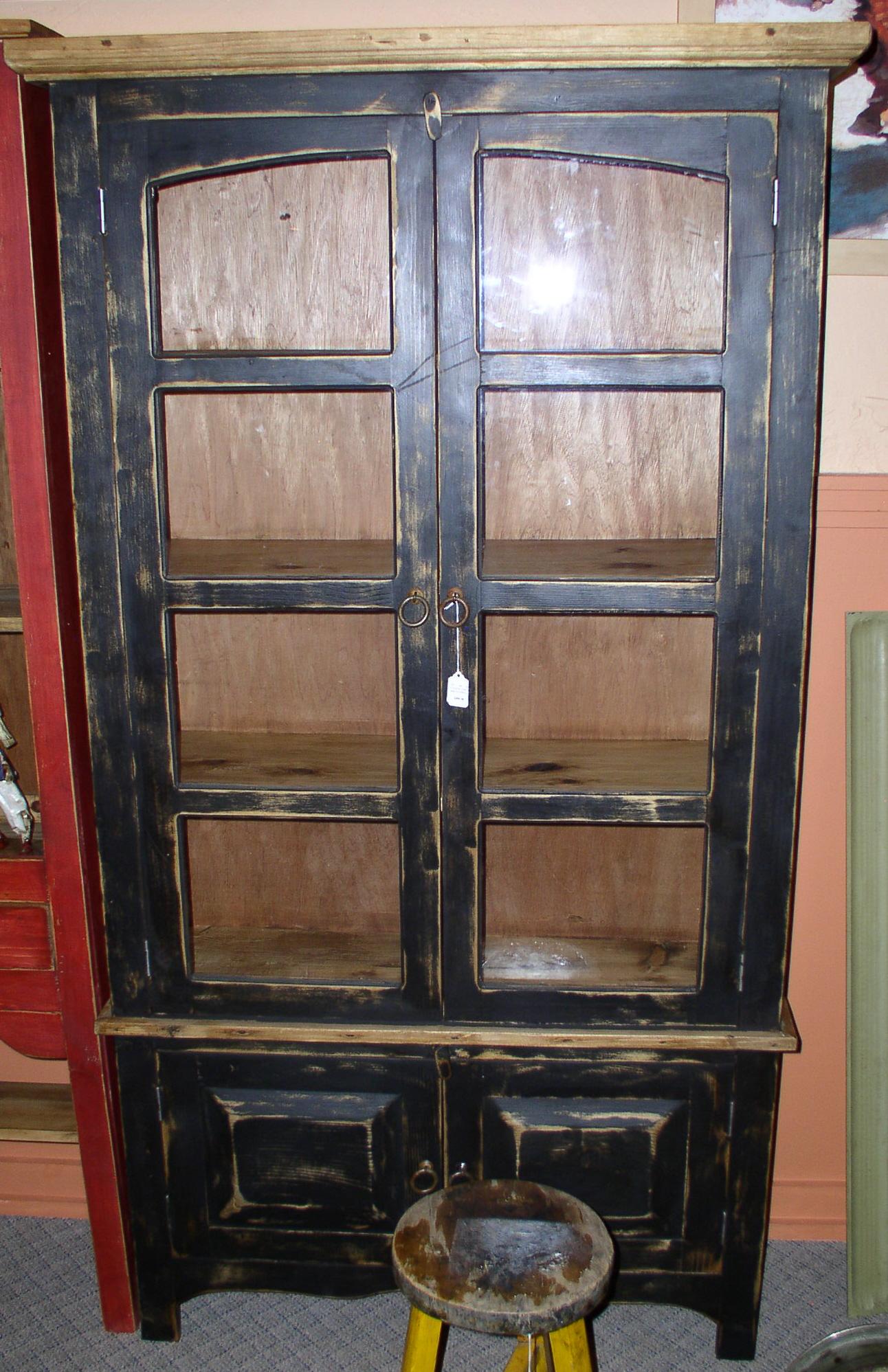 #4015 CHIHUAHUA BOOKCASE BLK GLASS DOORS 39 X 13X72 389 .jpg