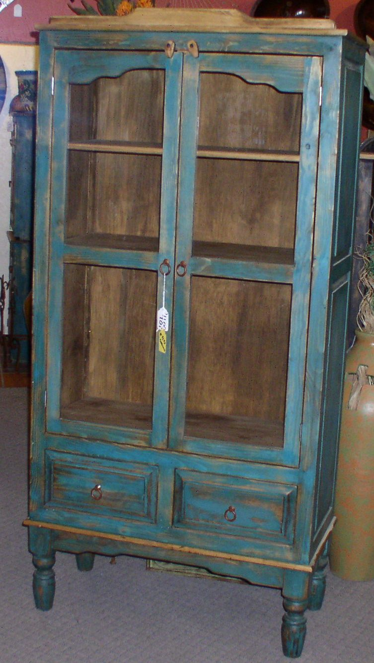 #4633 CHIHUAHUA BOOKCASE 36WX18DX75 TURQ TURNED LEGS 489.jpg