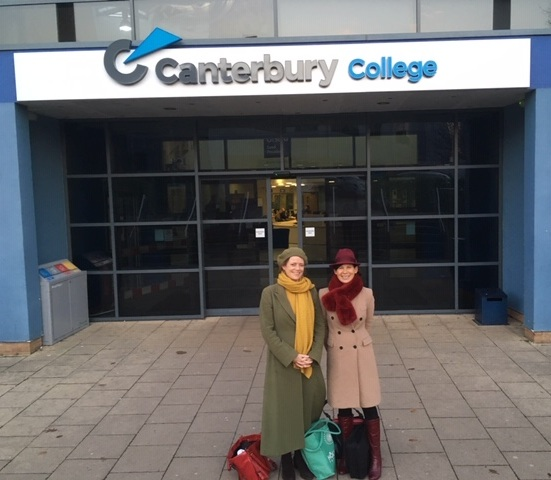 Canterbury College with Mary-Louise Morris. (aka Ladies from the 1940's). FYI - bags don't signify a little light shopping in Canterbury High Street. Instead they're filled with books and my travelling projector for the short films we show #achybreakyshoulders
