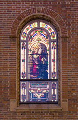 The stained-glass windows look differently on the outside