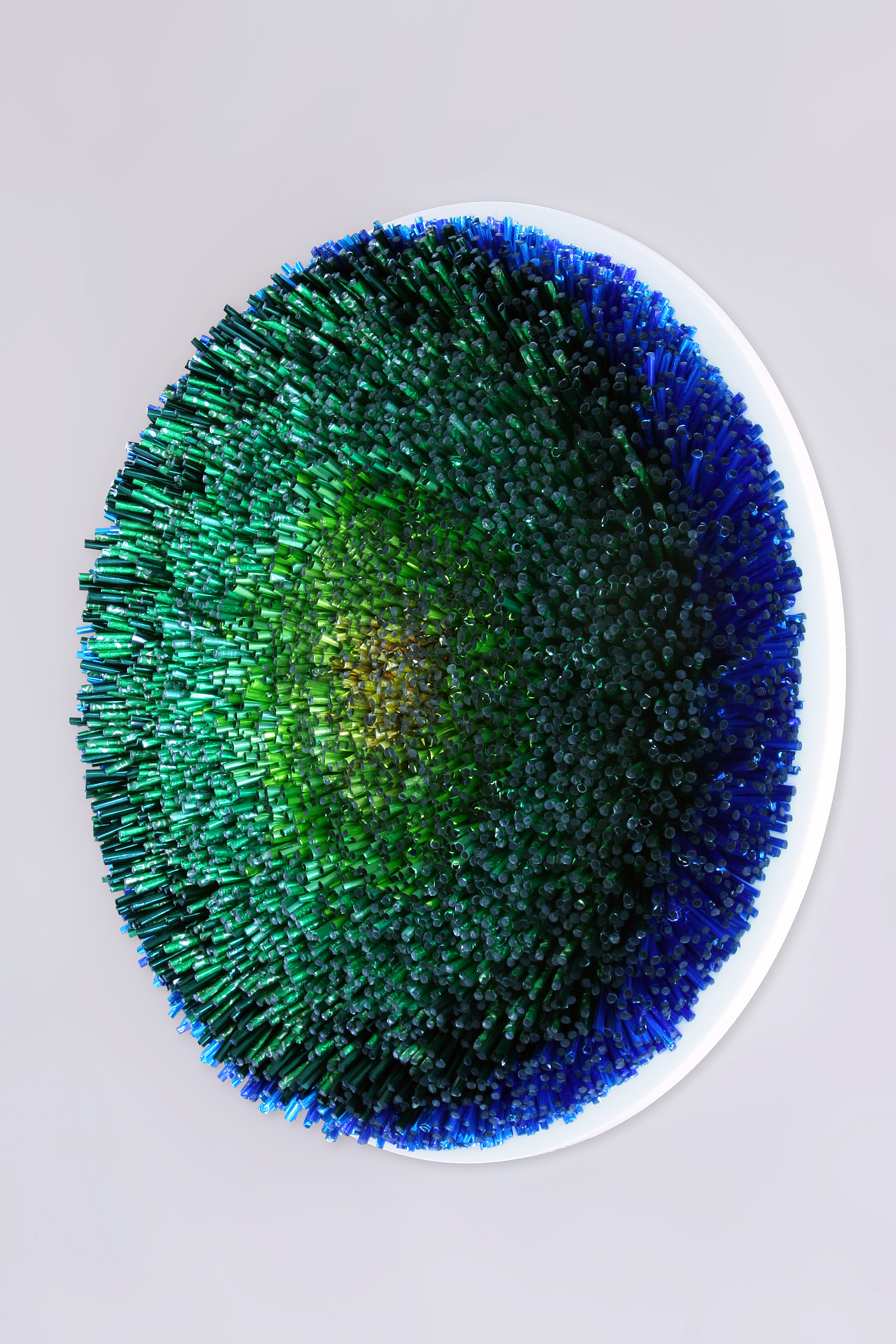 'Green Surf' by Joanne Tinker -  SOLD   40cm (diameter) x 7cm  Recycled chocolate foils  £3000