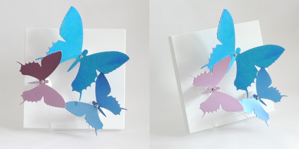 Anodised aluminium 'Butterfly Board' (blue / purple) - Small 180mm x 180mm - by Salina Somalya £160 Other colours and sizes available