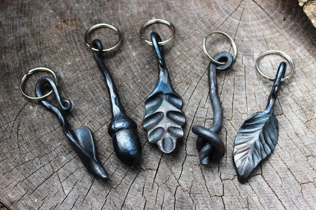 Keyrings - from left to right: monkshood leaf, acorn, oak leaf, knot, ash leaf - £15 each plus £12.50 p&p (gift-boxed and insured delivery)