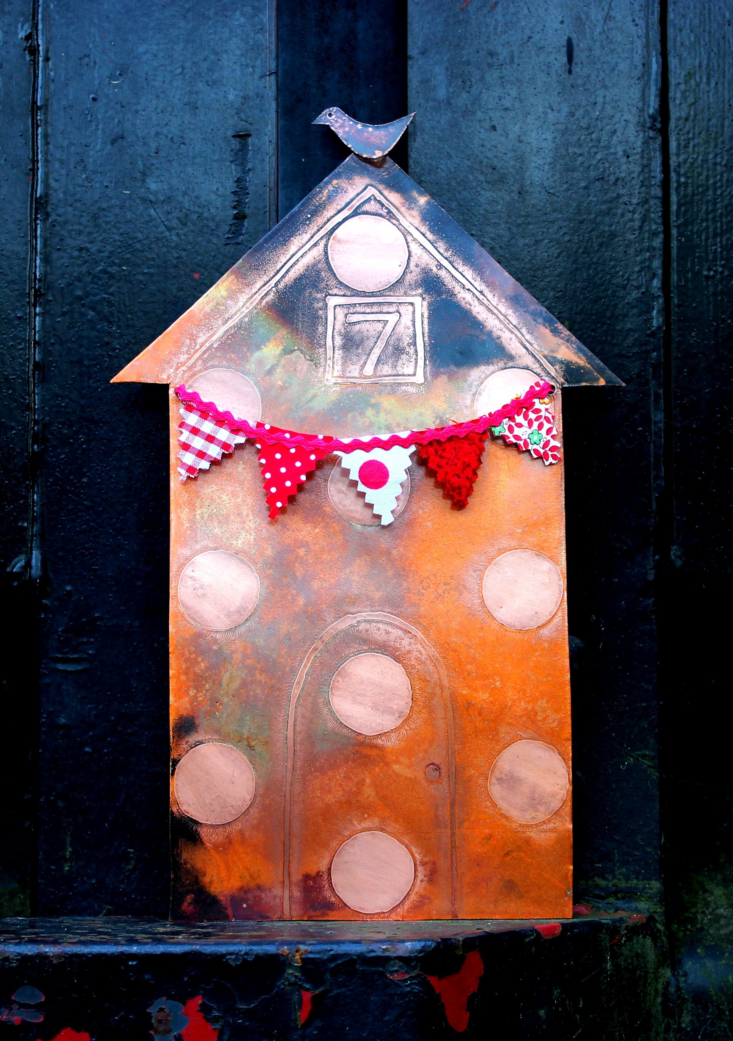 Copper 7th Anniversary Beach Hut with Bird and Red Bunting (wall hanging - there is a copper loop on the back for easy wall fixing) £55 plus £12.50 insured p&p UK mainland