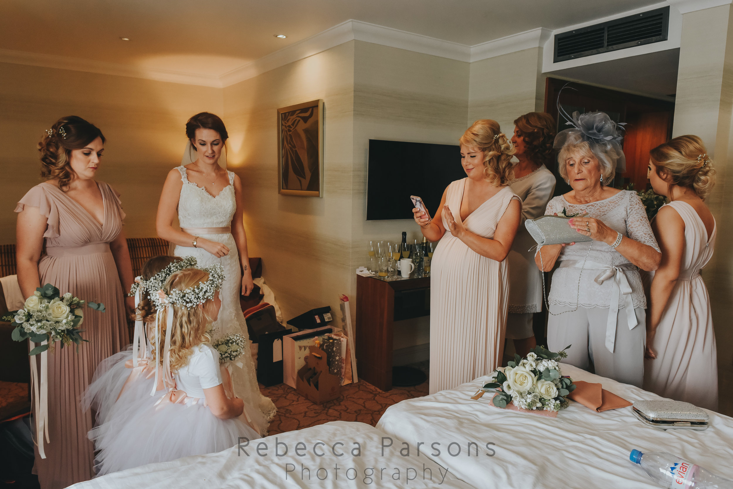 The bridal party about to leave their room