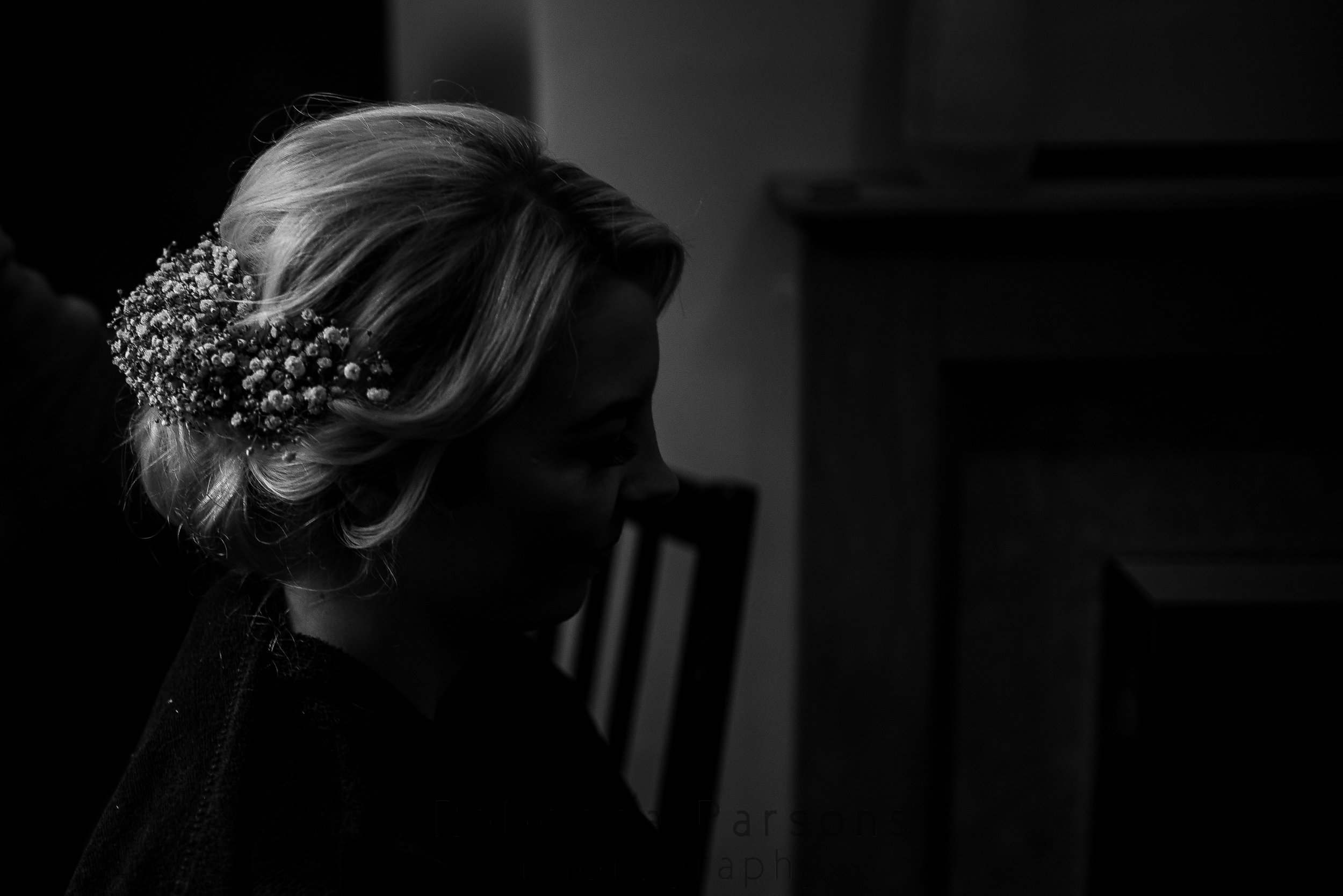 Bride's finished hair black and white