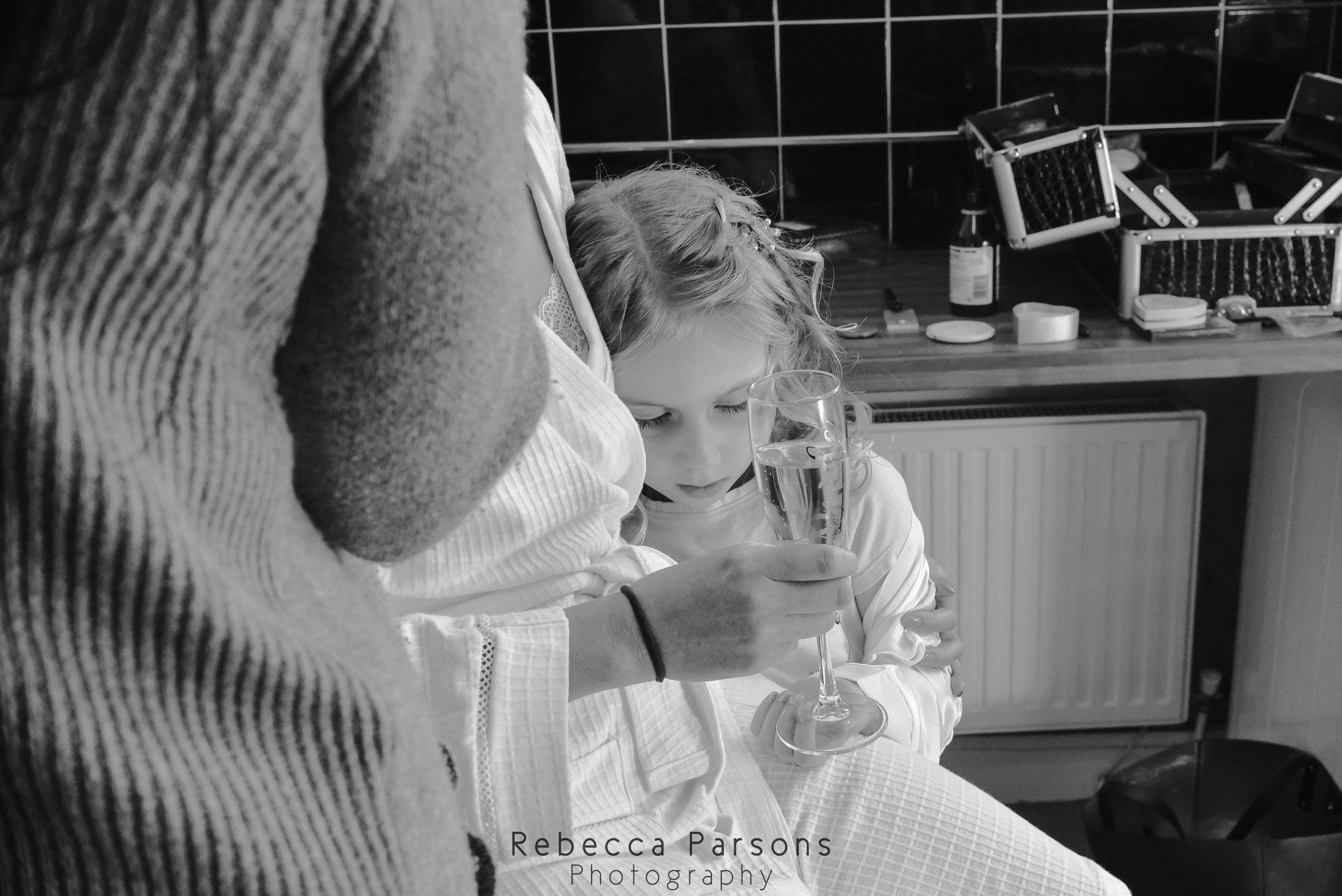 black and white bride cuddling niece