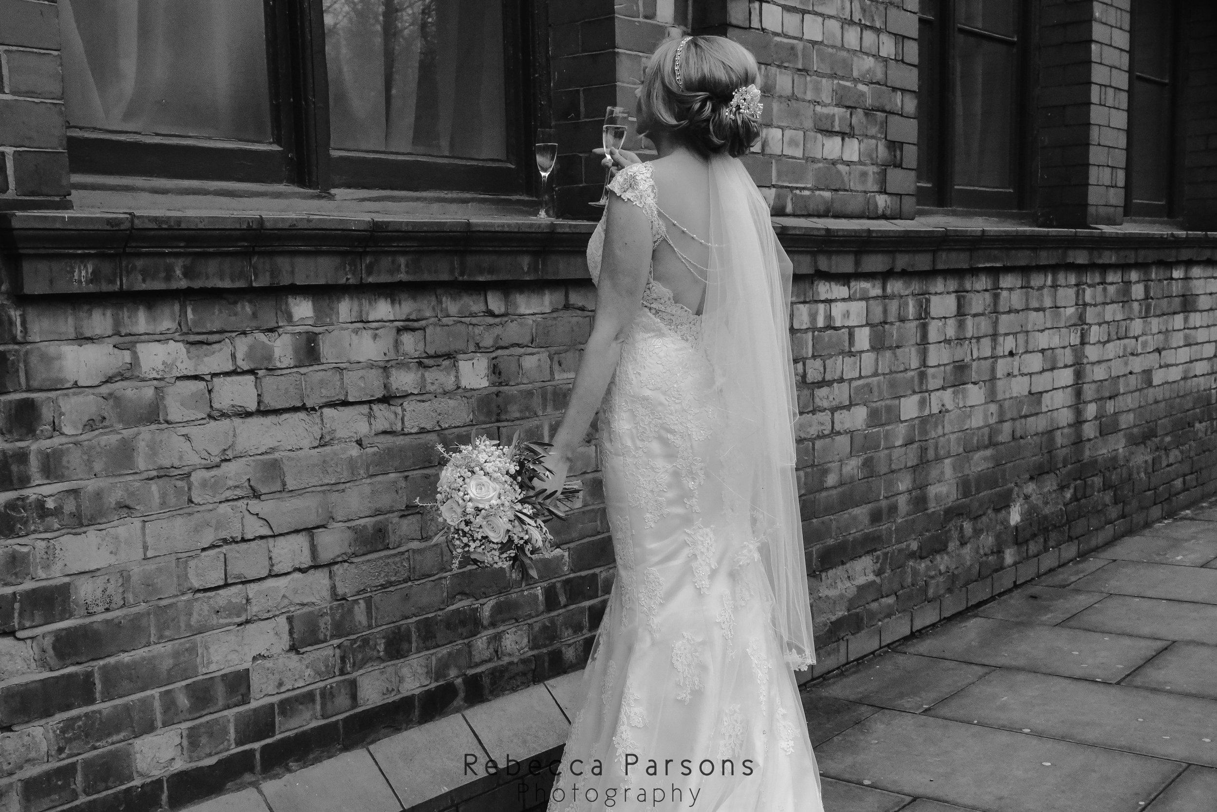 black and white bride from behind