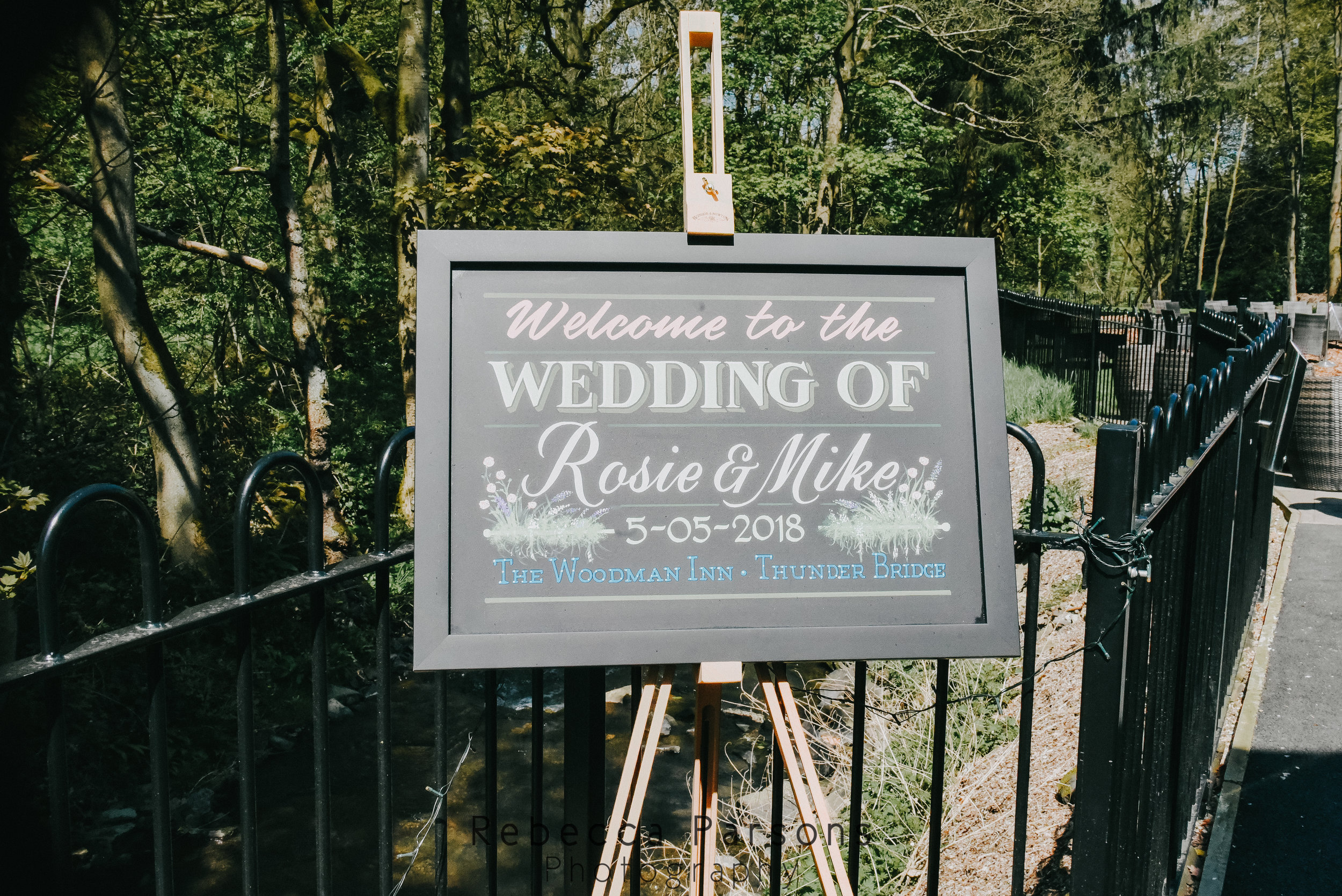 sign for bride and groom's wedding