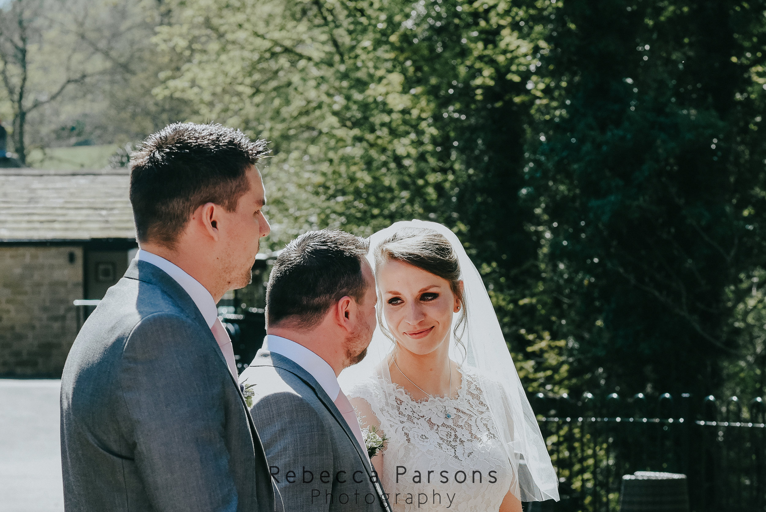 bride and groom looking at each other