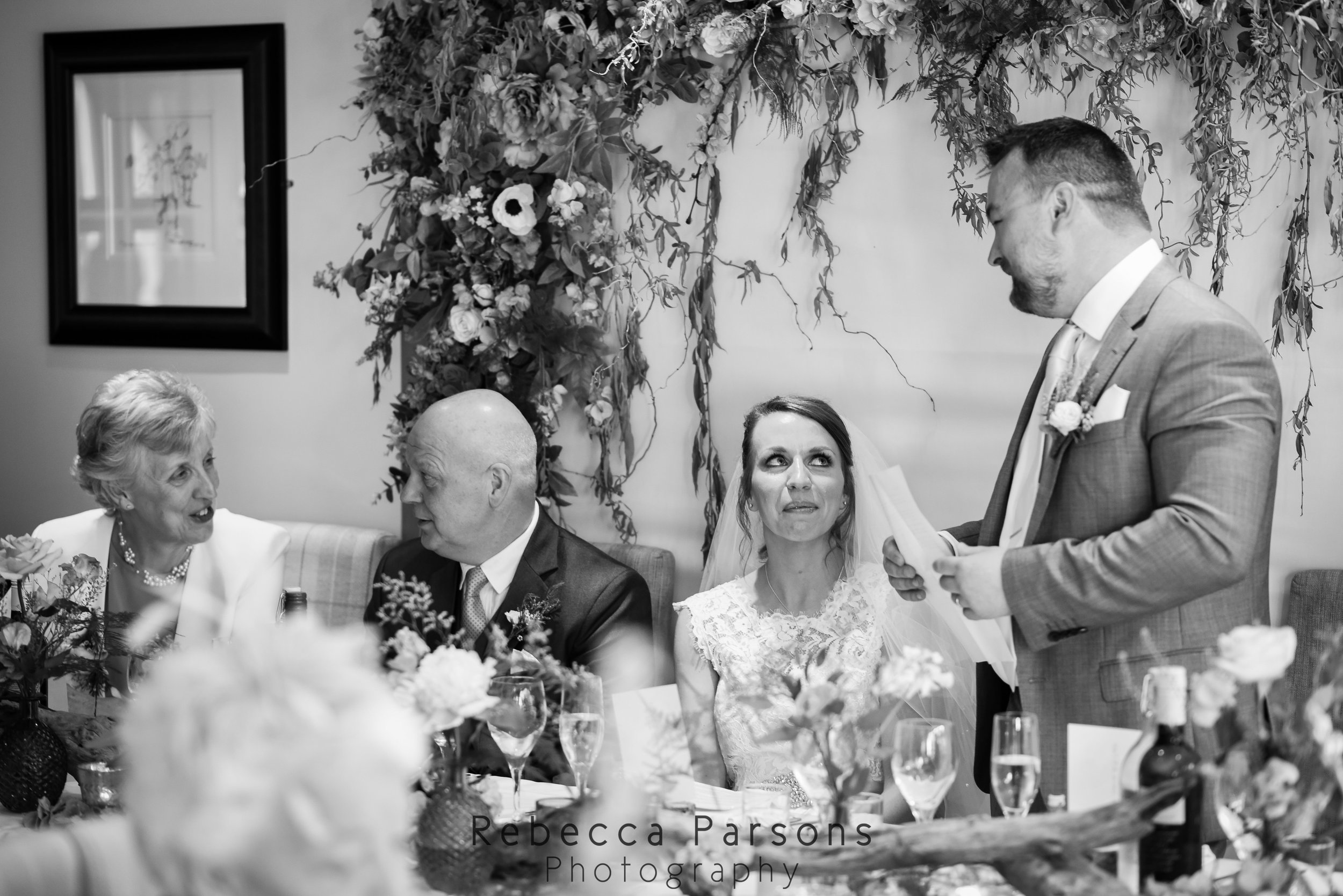 top table during speeches black and white