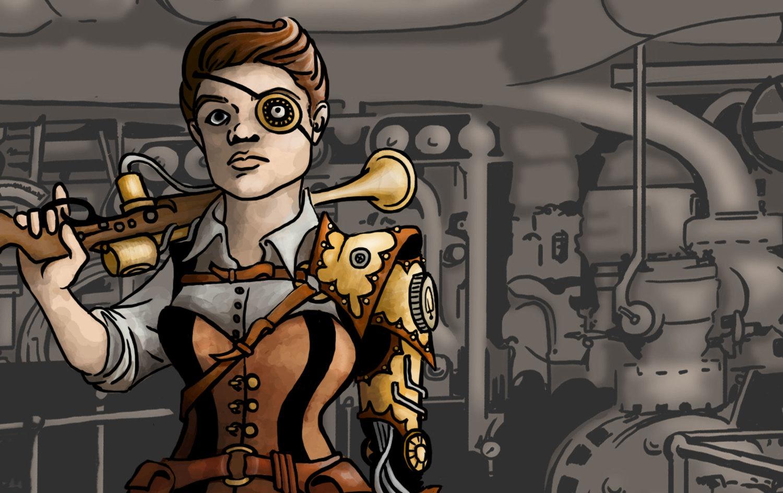 Steampunk Mechanic: Digital Illustration
