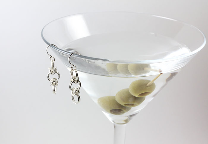 Sterling Silver Odd-Angles Byzantine Earrings , shown with a wet martini with extra olives.