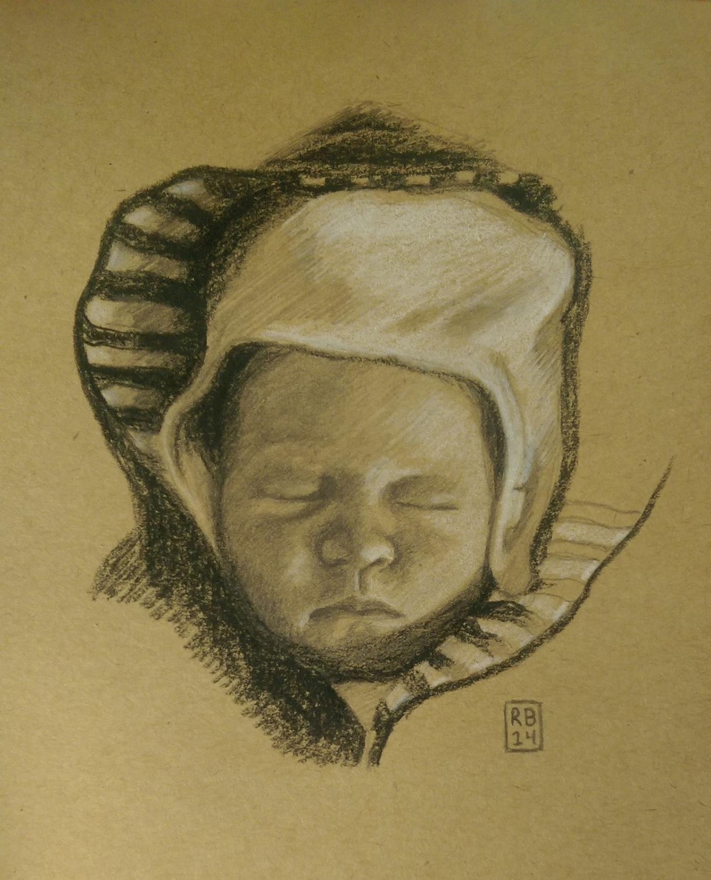 Getekend Portret - Baby Linne - Krijt en Grafiet op papier