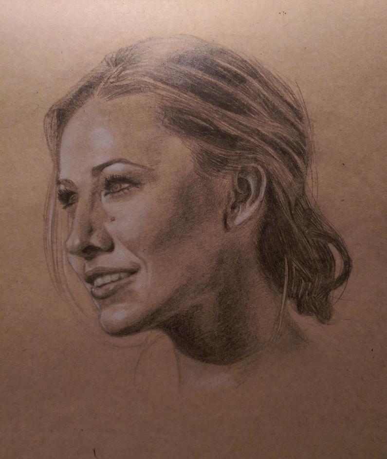 Getekend Portret - Krijt en Grafiet op papier