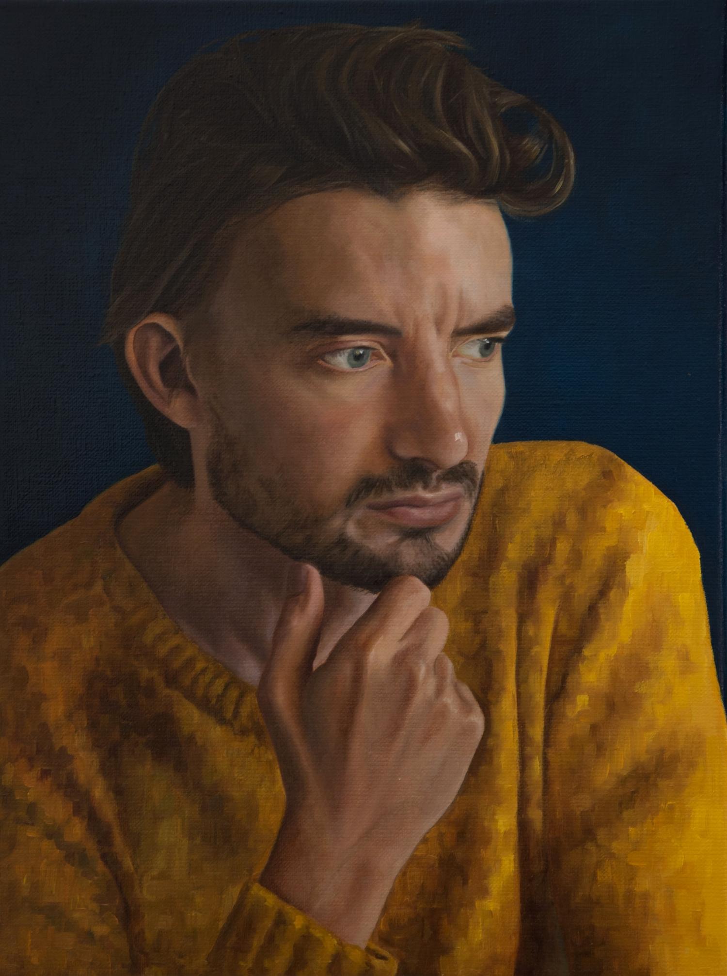 Geschilderd portret - Maarten - Olie op doek