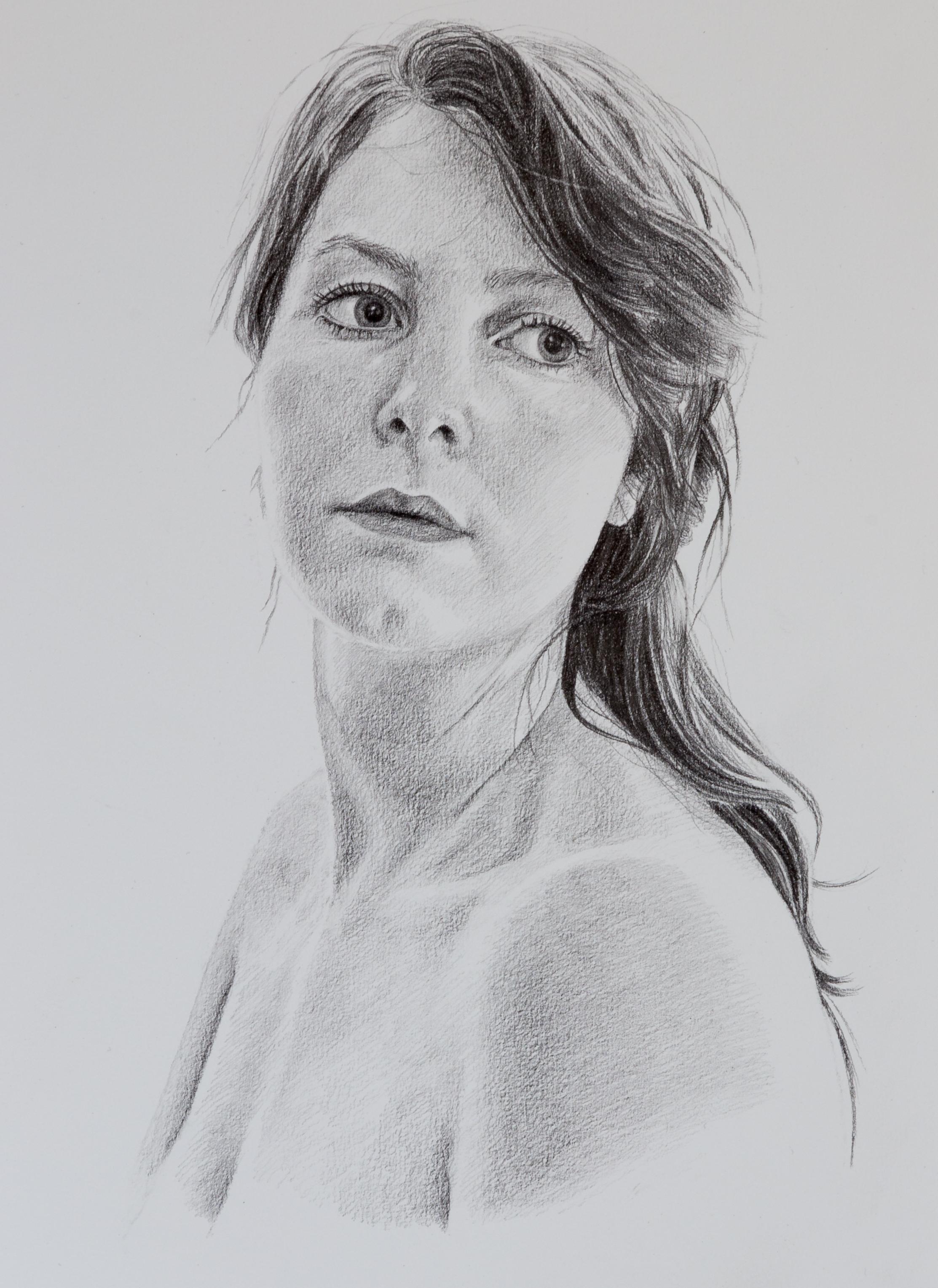 Getekend portret vrouw - grafiet op wit papier
