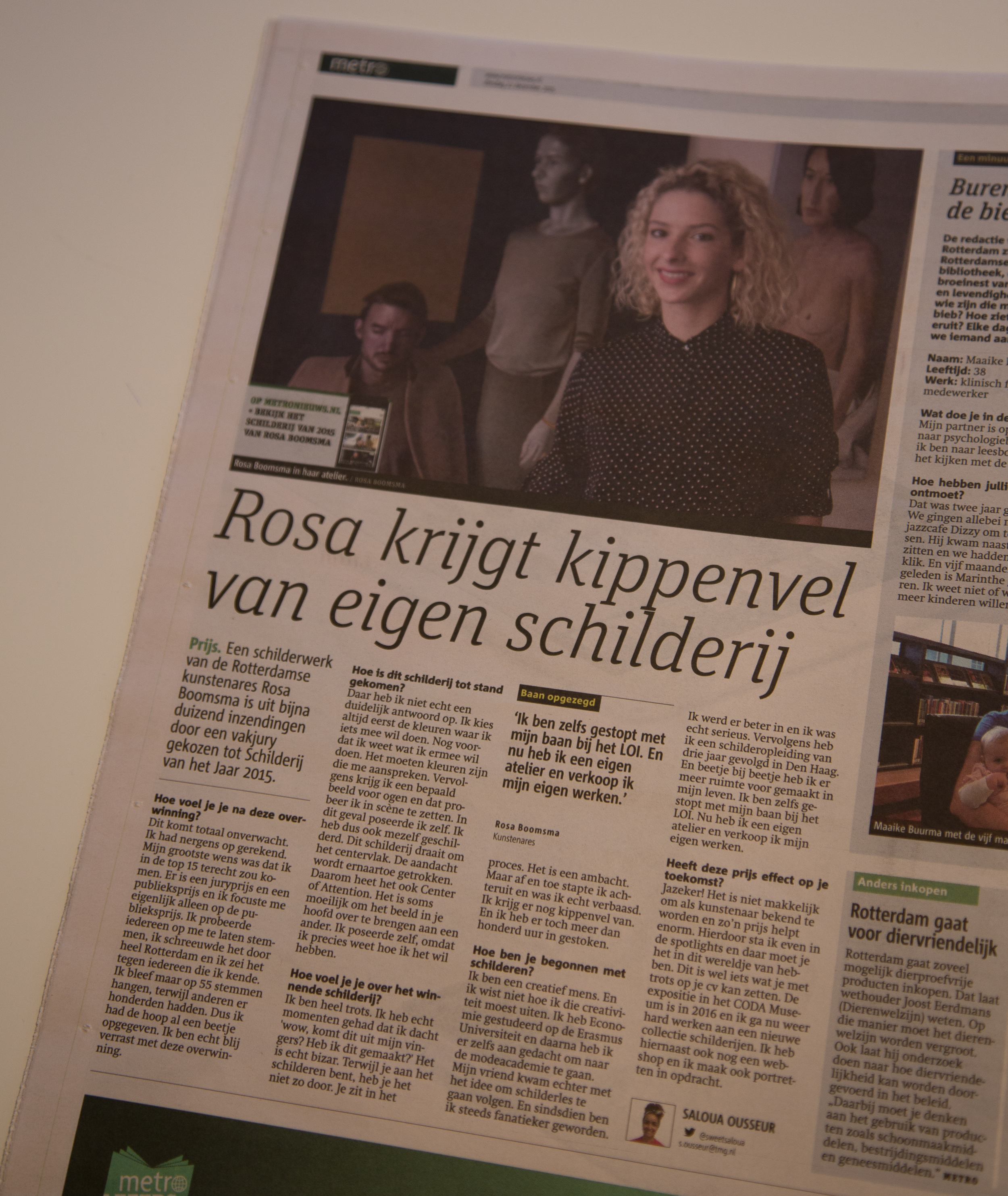 Rosa Boomsma in Metro Nieuws 22-12-2015