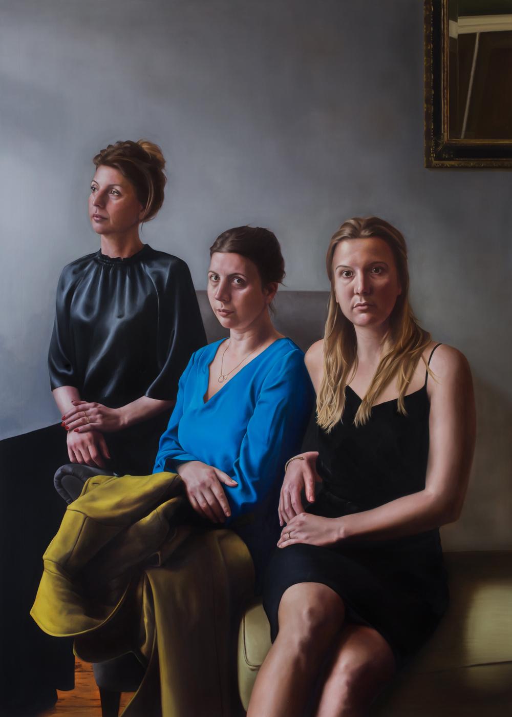 """""""Sisters"""" - 2019 Oil on canvas (160 x 115) Genomineerd voor 'De Nederlandse Portretprijs'.  Van 1 september tot en met 17 november 2018 te zien in Slot Zeist te Zeist."""