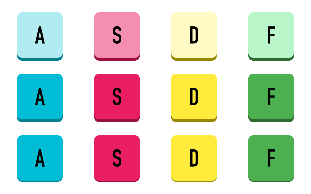 Active, neutral and pressed states for each button.