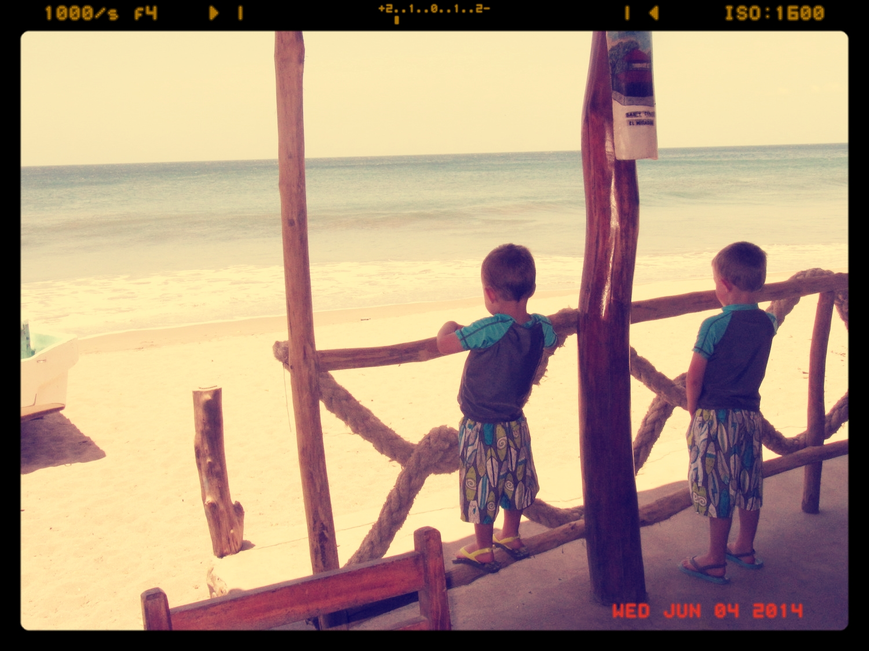 The boys during a 2011 Nicaragua beach vacation.
