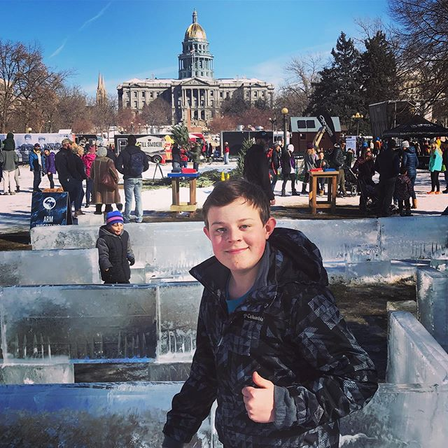 Checking out the ice maze at the World Cup ice-climbing finals in #civiccenterpark. #lovedenver #denverlifestyle