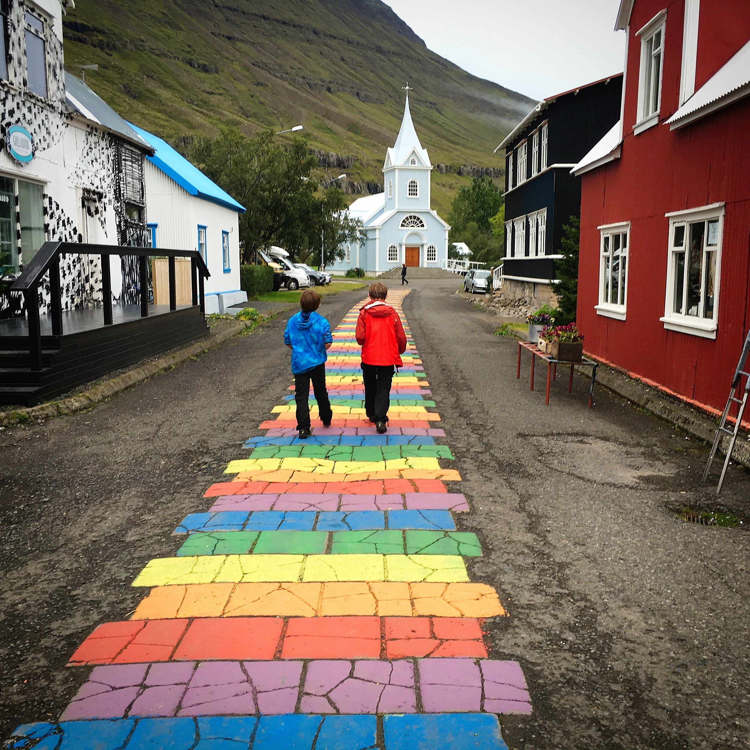 Follow the rainbow-brick road.  Photo by Michael Mundt.