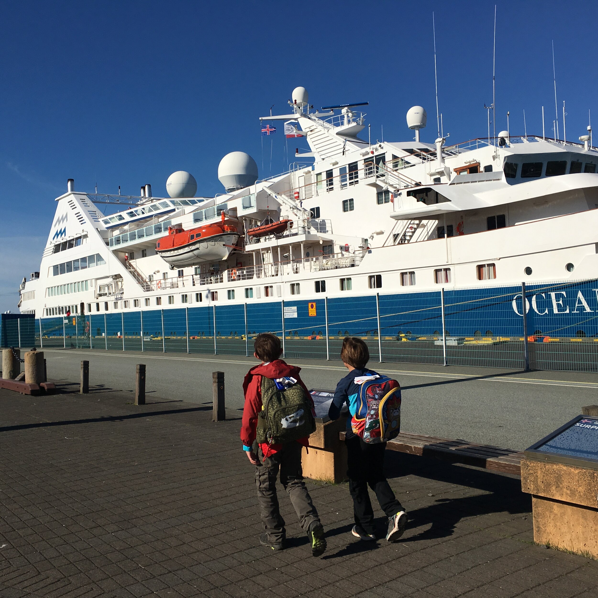 Boarding the Iceland ProCruises' OCEAN DIAMOND for our 10-day circumnavigation.  Photo by Heather Mundt.