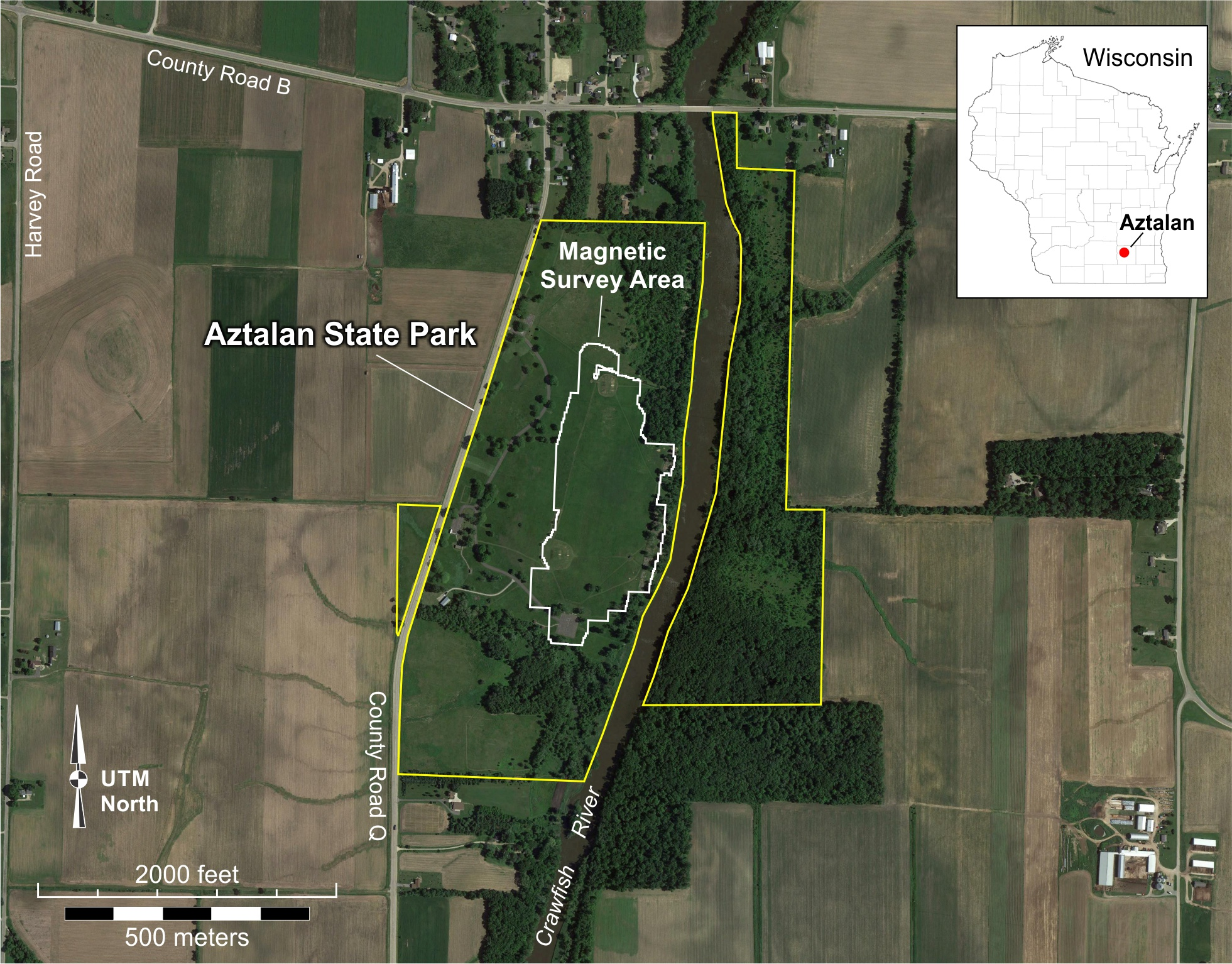 Figure 1. Geophysical survey area at Aztalan State Park