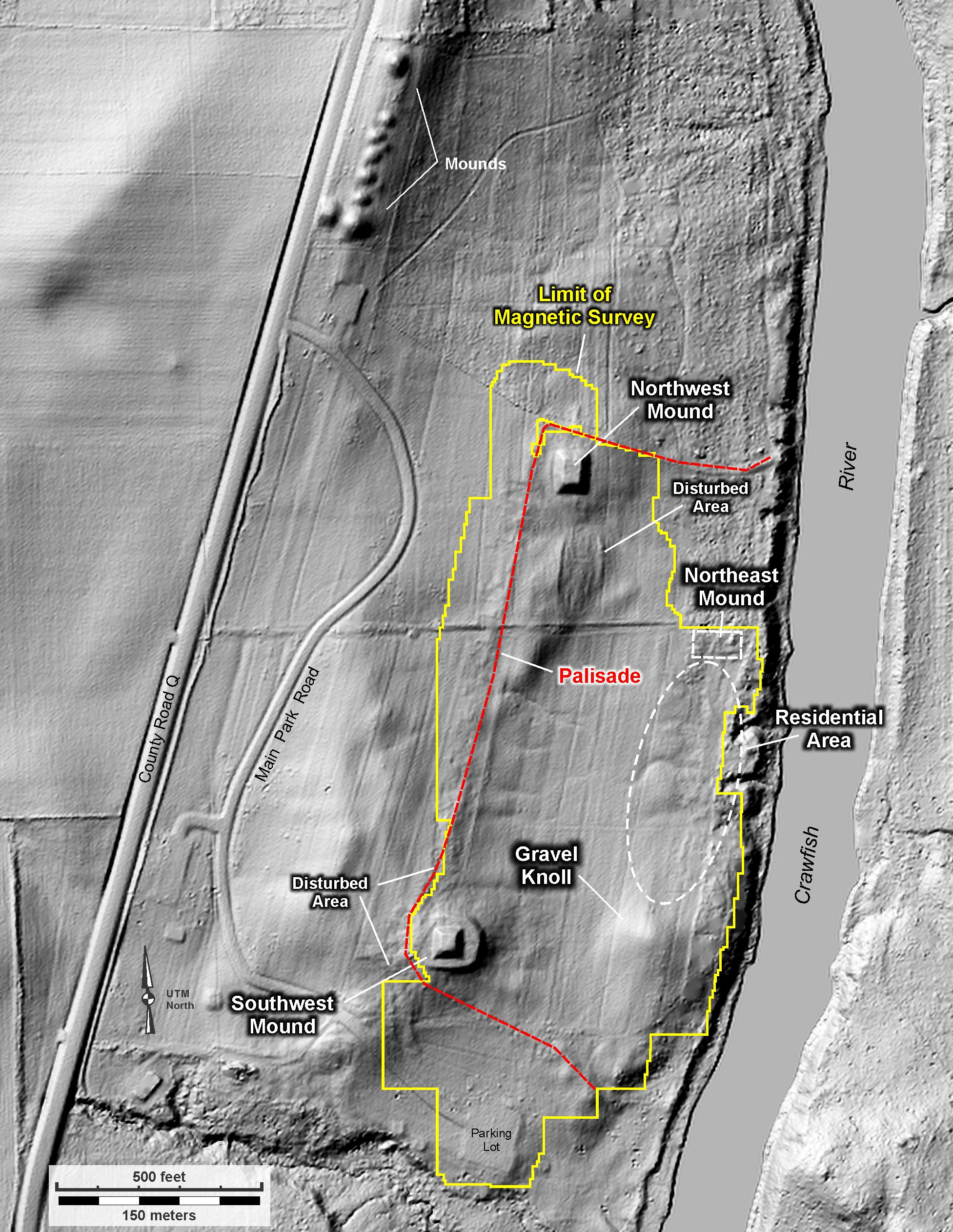 Figure 2. Magnetic survey area at Aztalan State Park shown on a LiDAR-based digital surface model
