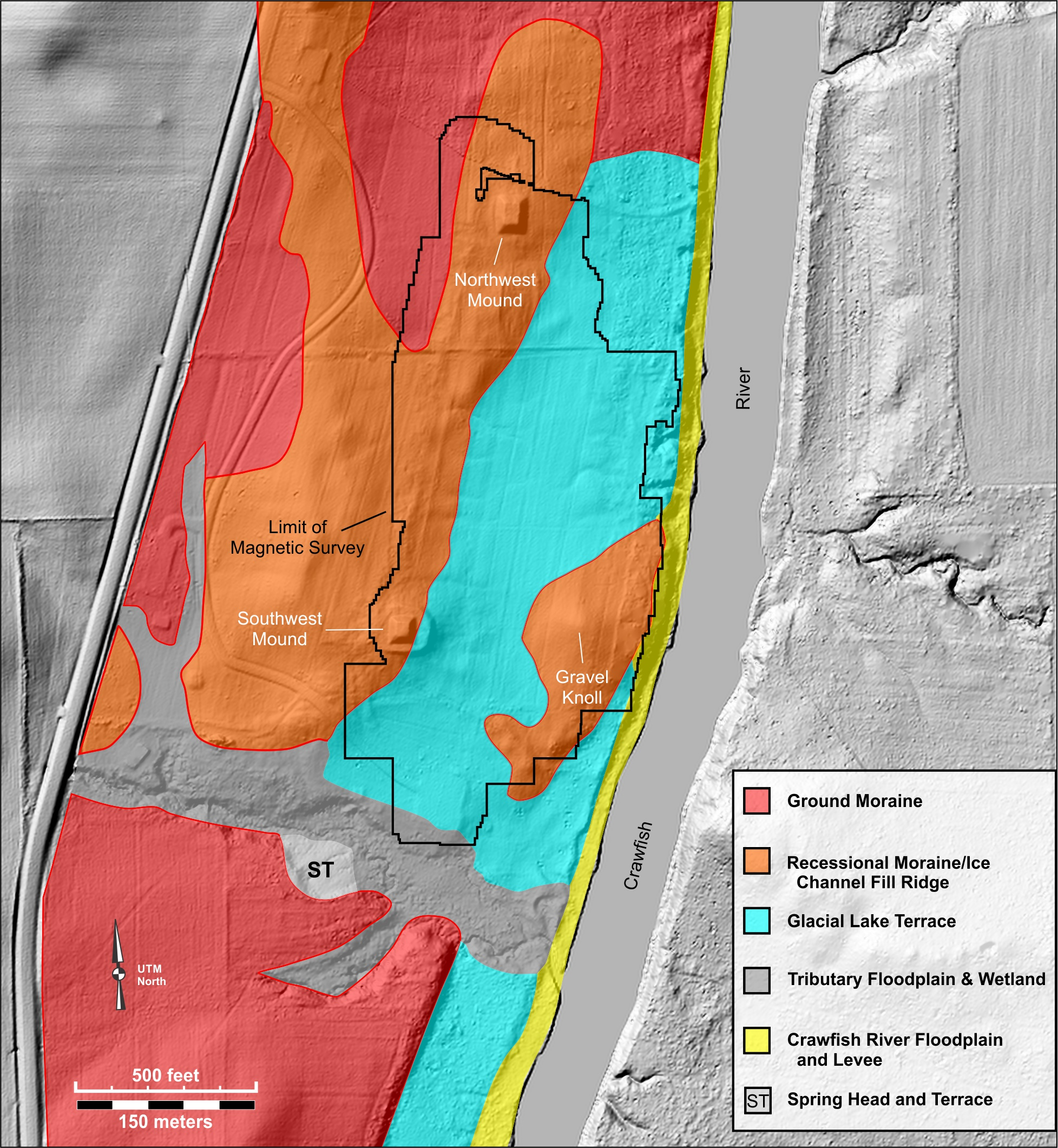 Figure 3. Major geomorphic zones in the Aztalan State Park area overlaid on the 2012 LiDAR-based digital surface model