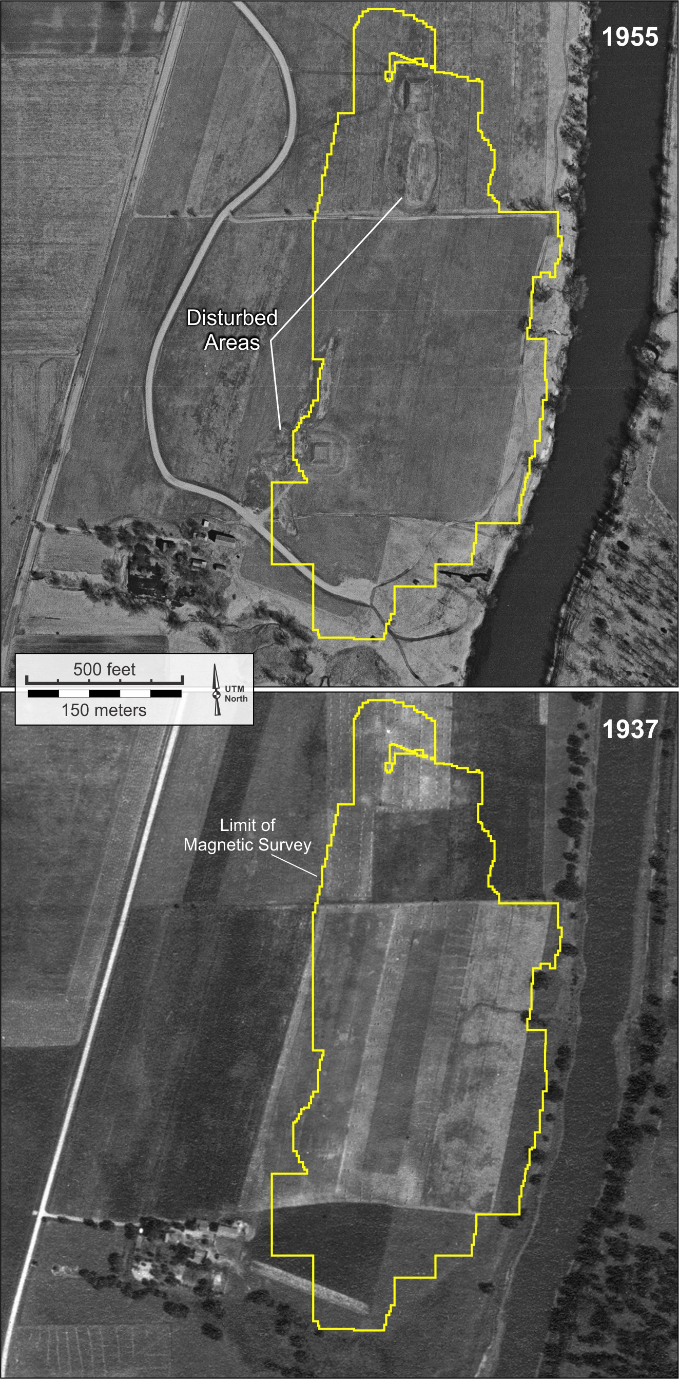 Figure 4. Historical, United States Department of Agriculture aerial photographs of the Aztalan State Park area.