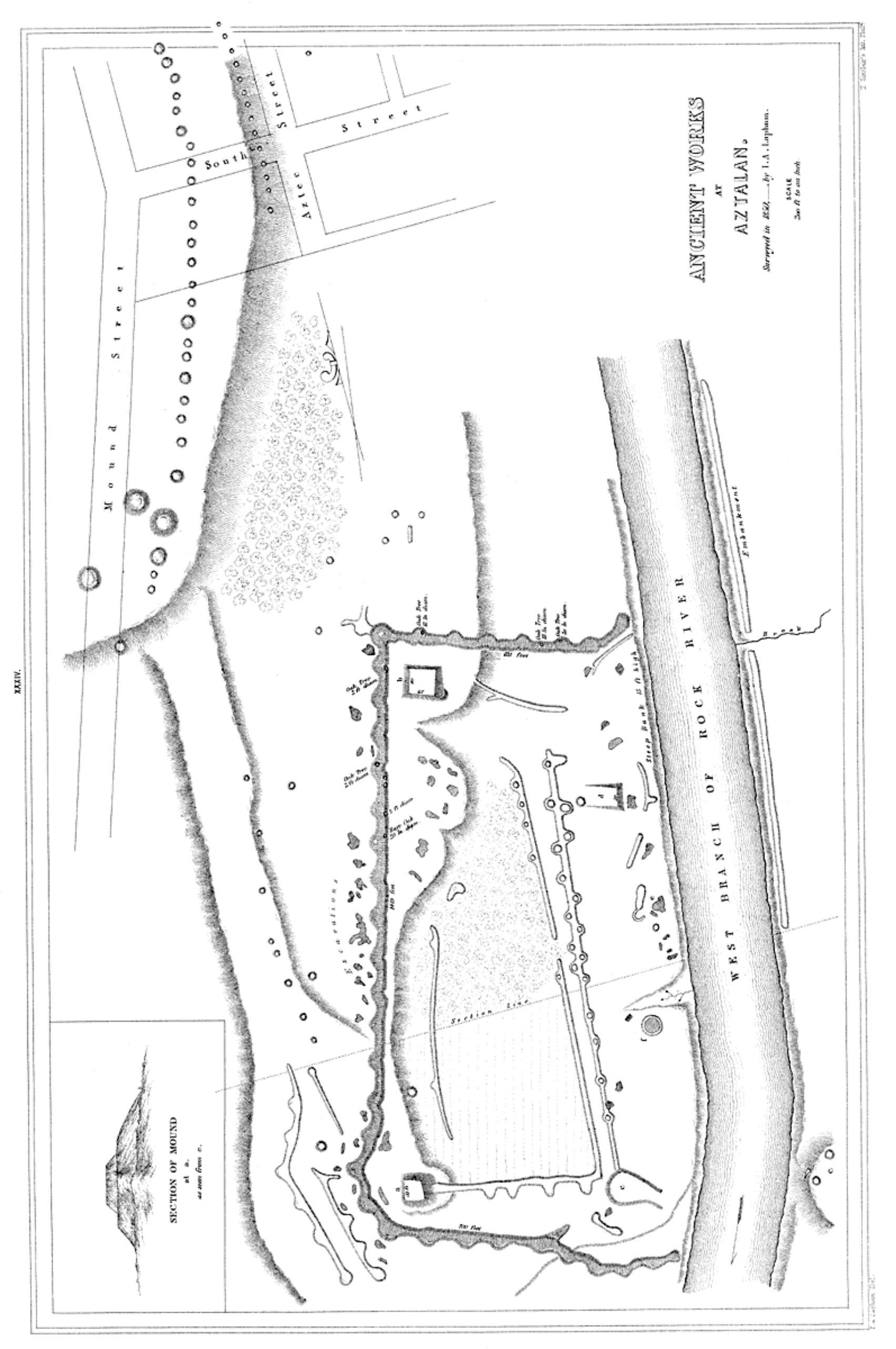Figure 5. 1850 Increase Lapham map of the Aztalan site.