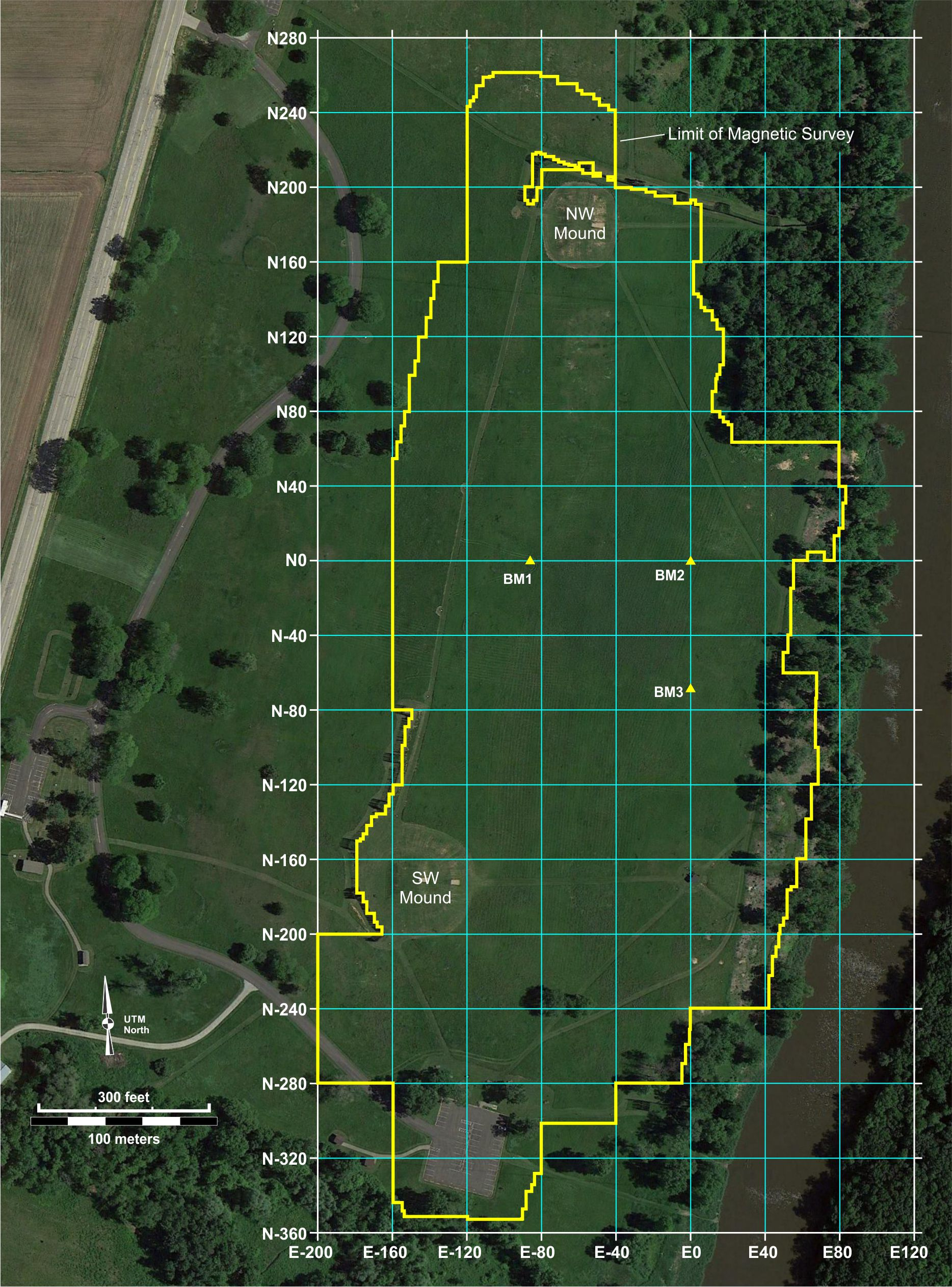Figure 14. Geophysical survey grid used at Aztalan State Park, with the site's three mapping benchmarks.