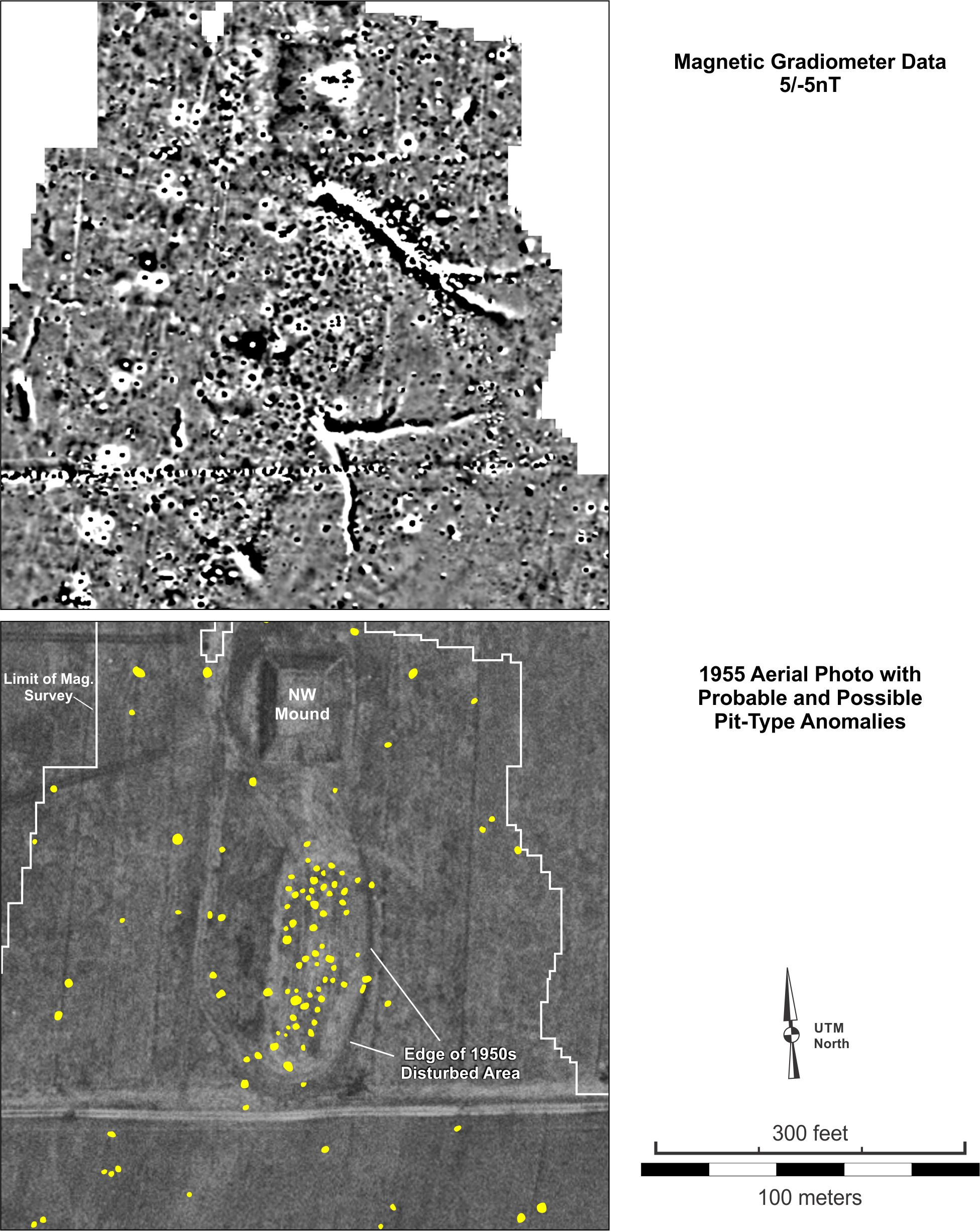 Figure 20. Detailed view of the probable and possible pit-type features in the a the (top) magnetic gradiometer data and (bottom) on a 1955 aerial photograph.