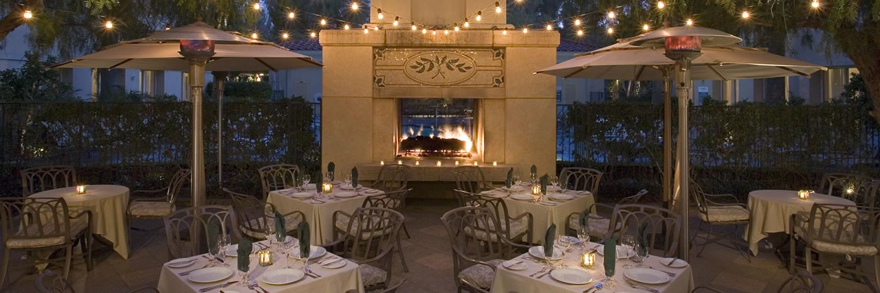 Outdoor dining on warm California nights (with heat lamps if necessary).