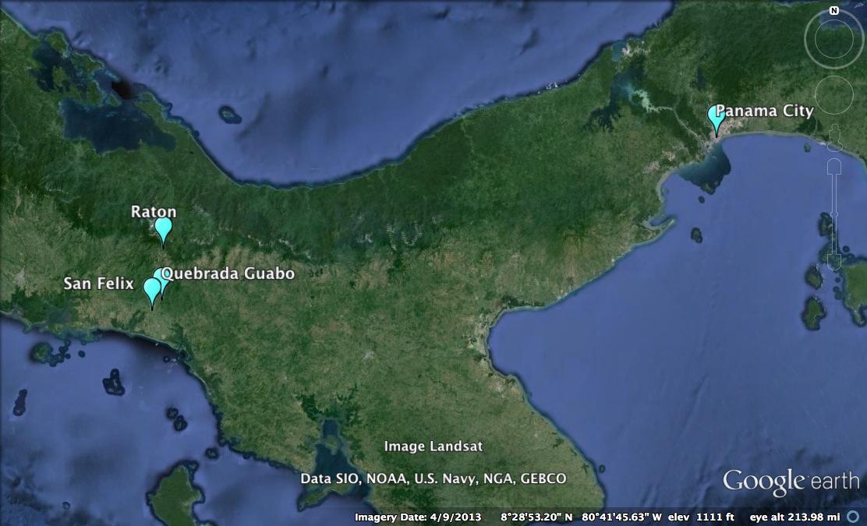 Map showing the locationof Panama City relative to San Felix, Quebrada Guabo,   and  Rat  ó  n .