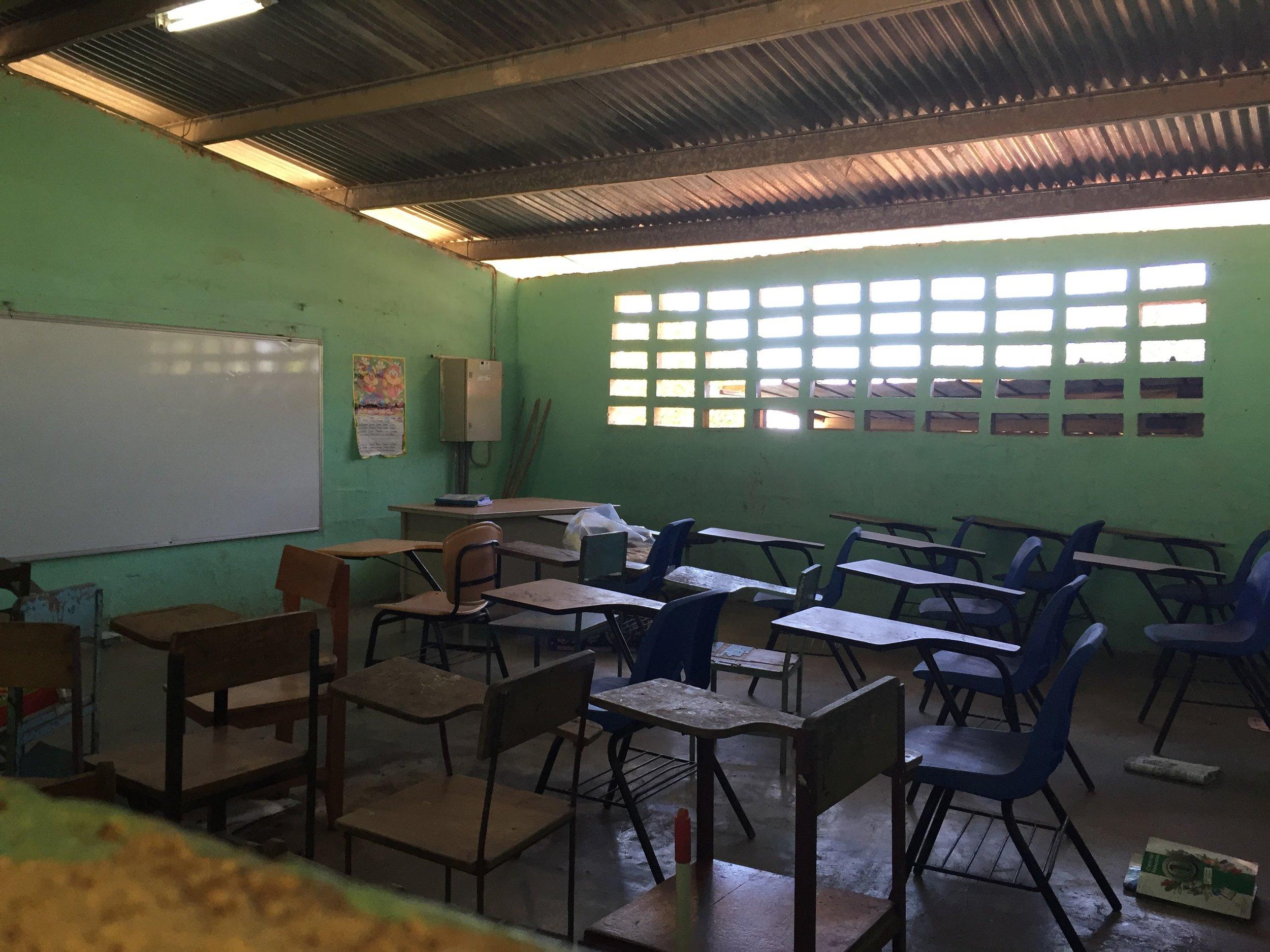 Inside a classroom at Hato Ratón's school.