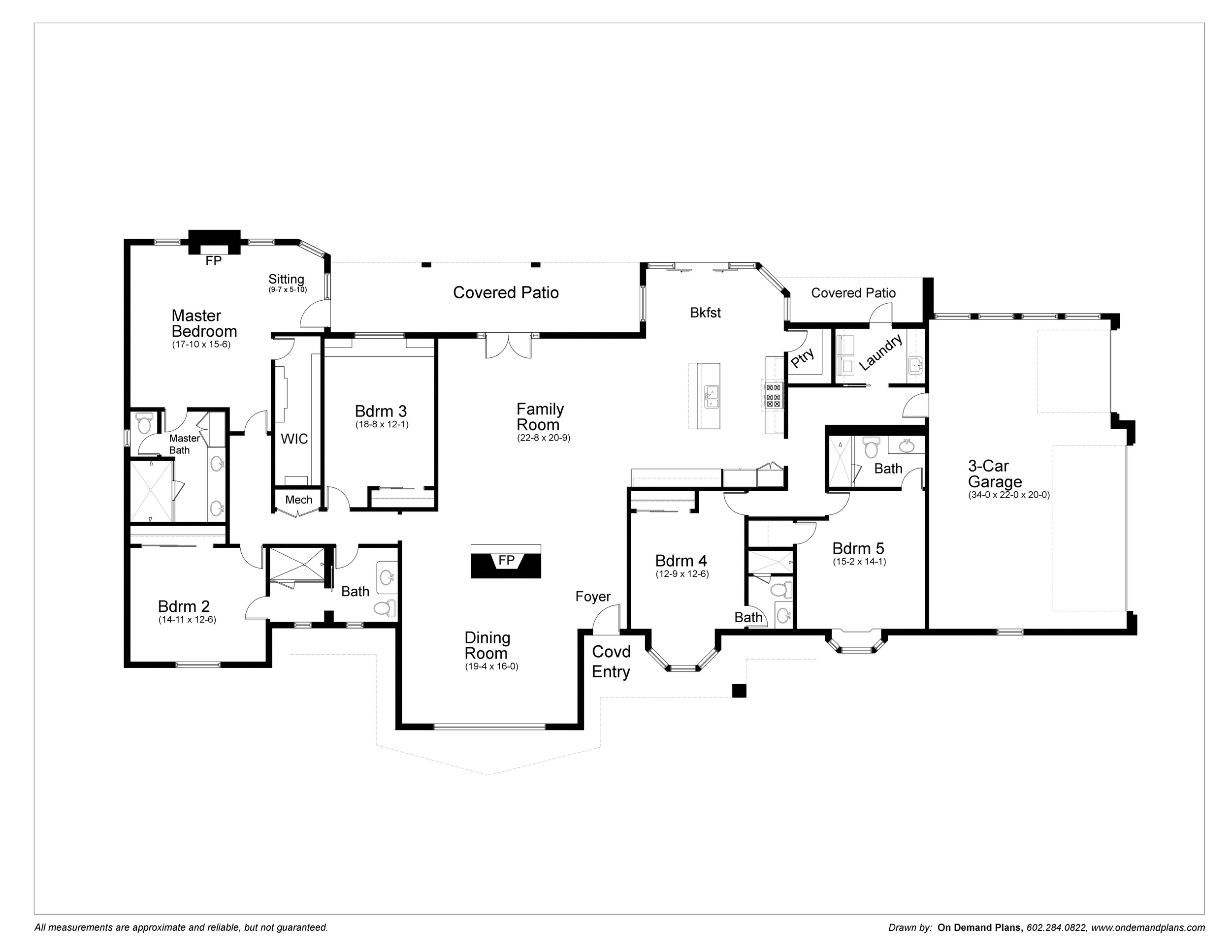 Revised Floor plan with 5 bedrooms, 4 baths