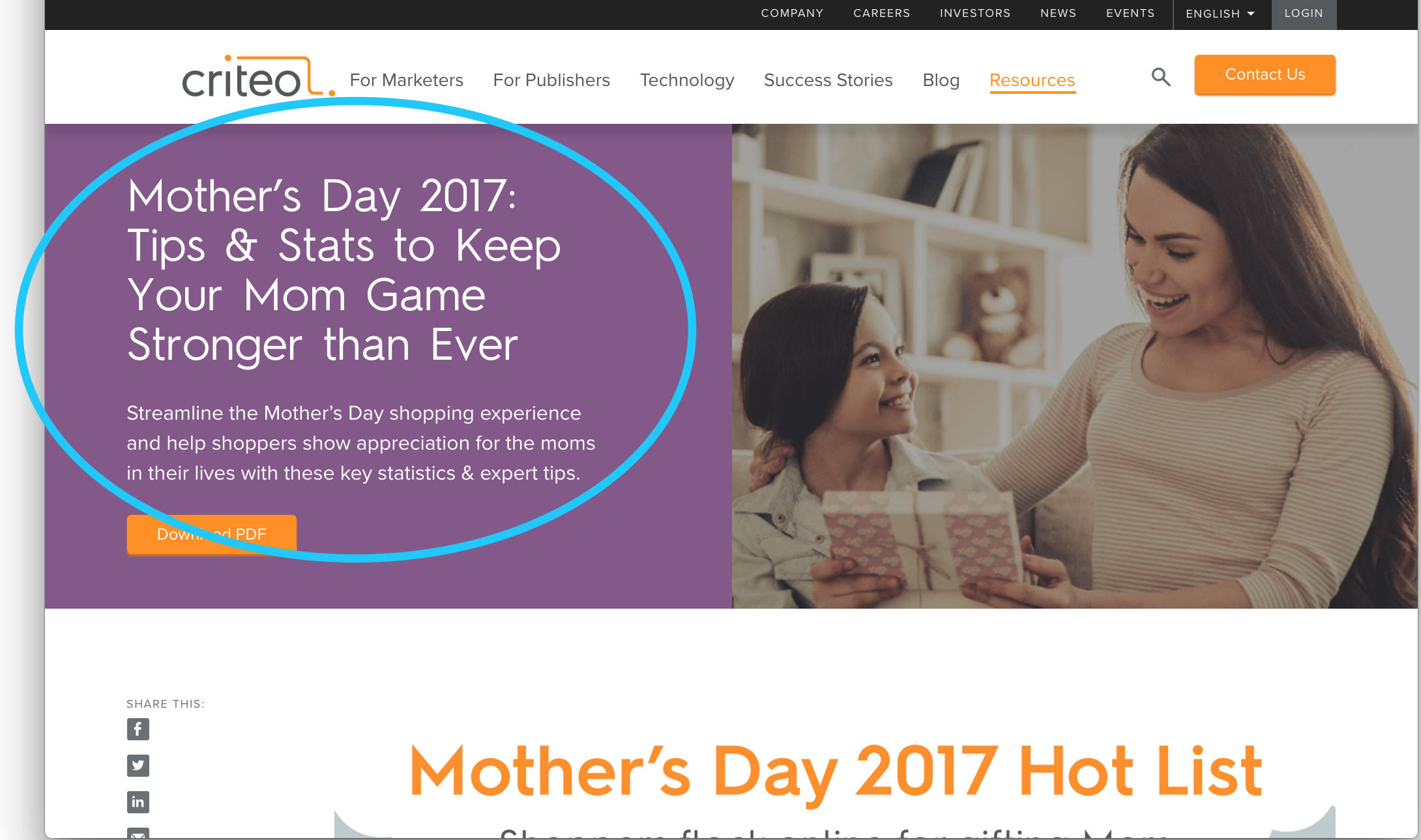 Mother's Day Marketing Study (B2B Landing Page, 2017)