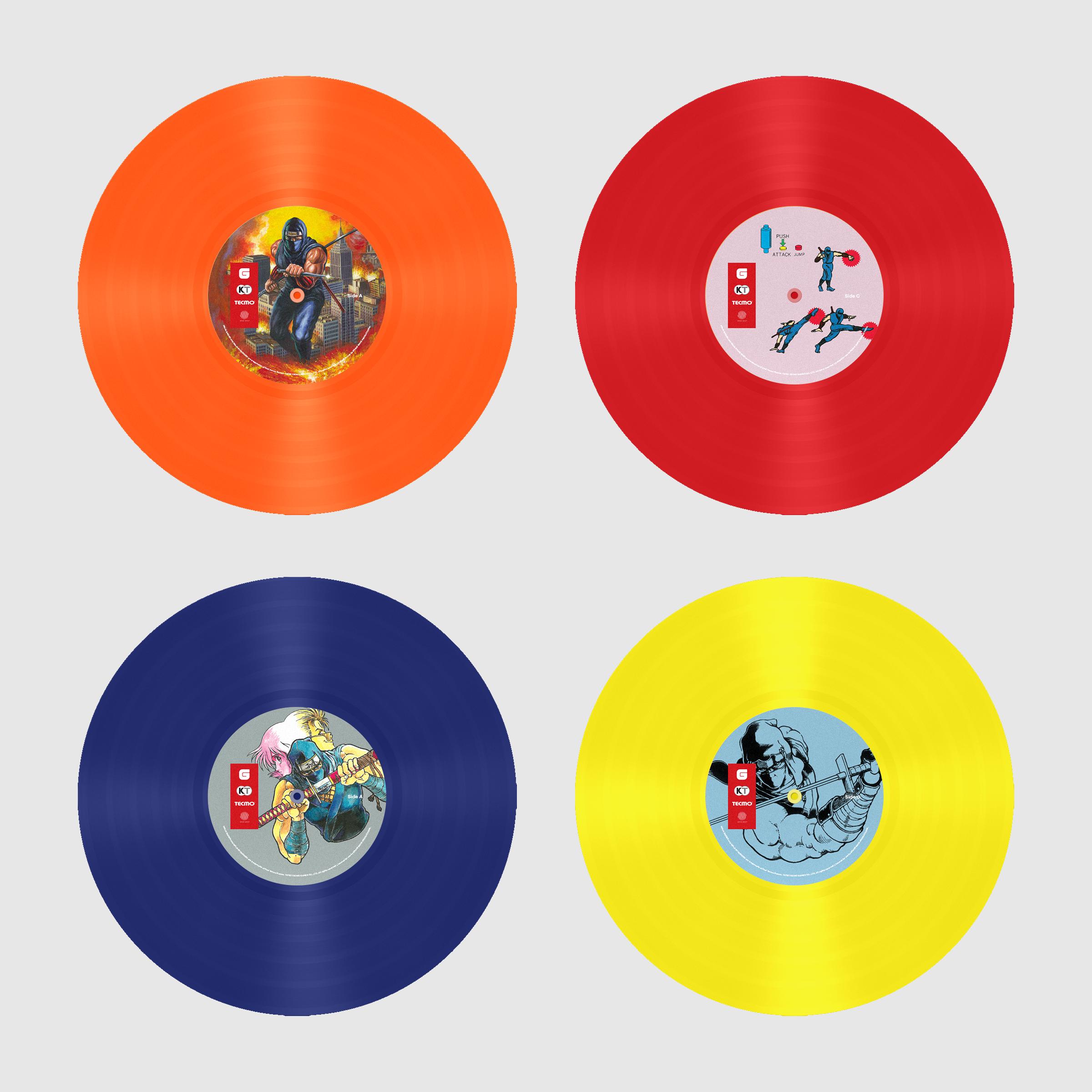 Top Row: Ninja Gaiden The Definitive Soundtrack Vol. 1 Colored Vinyl and Label Designs Bottom Row: Ninja Gaiden The Definitive Soundtrack Vol. 2 Colored Vinyl and Label Designs